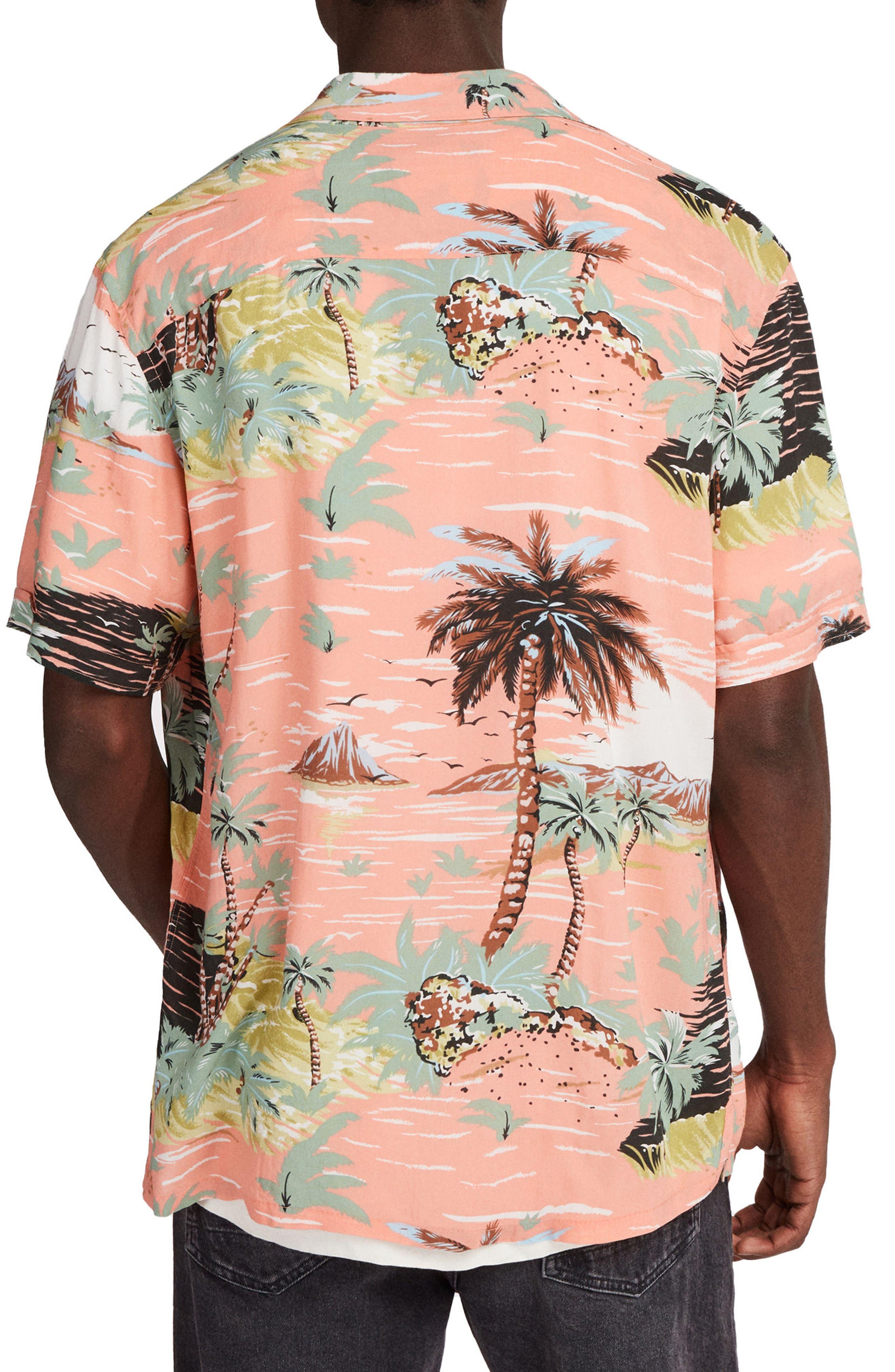 ALLSAINTS, Luau Camp Shirt, Alternate thumbnail 2, color, PINK