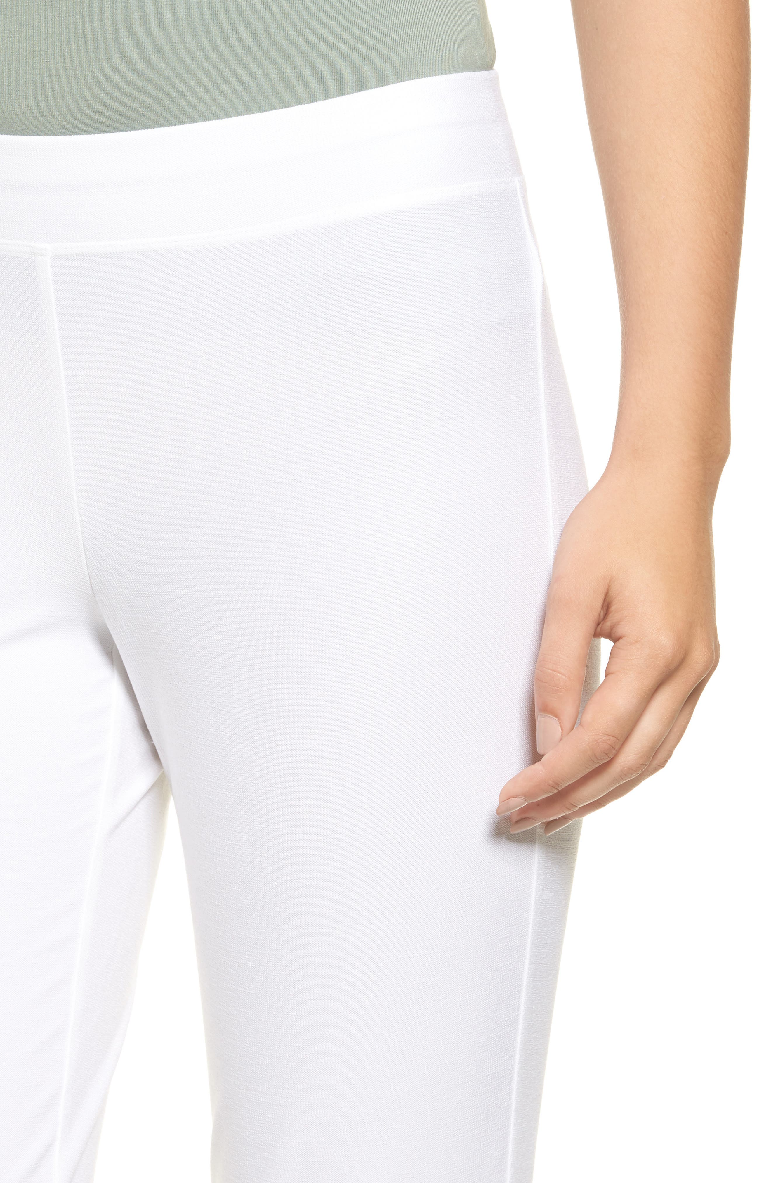 EILEEN FISHER, Stretch Crepe Slim Ankle Pants, Alternate thumbnail 4, color, WHITE