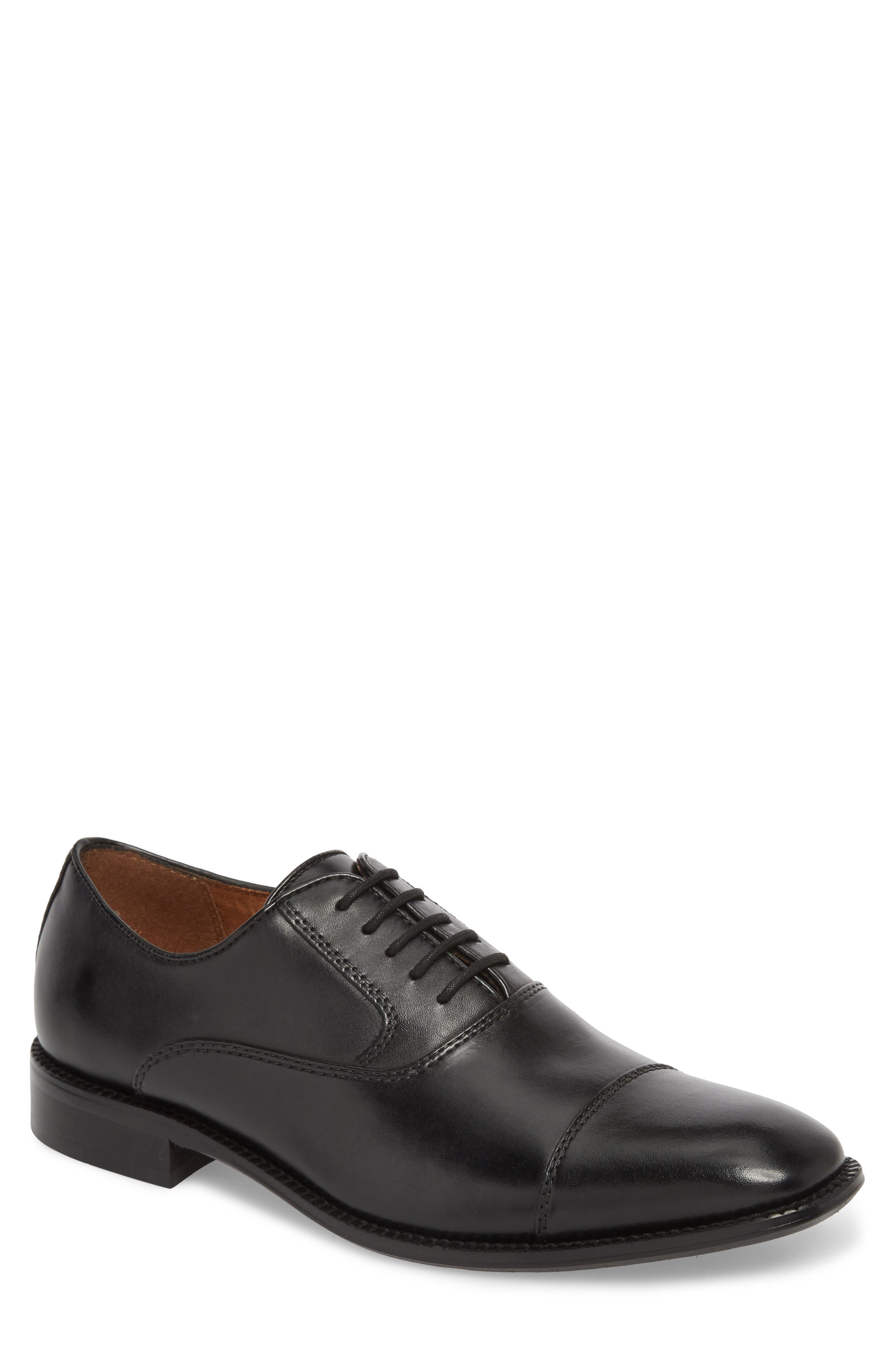 KENNETH COLE NEW YORK, Dice Cap Toe Oxford, Main thumbnail 1, color, BLACK LEATHER