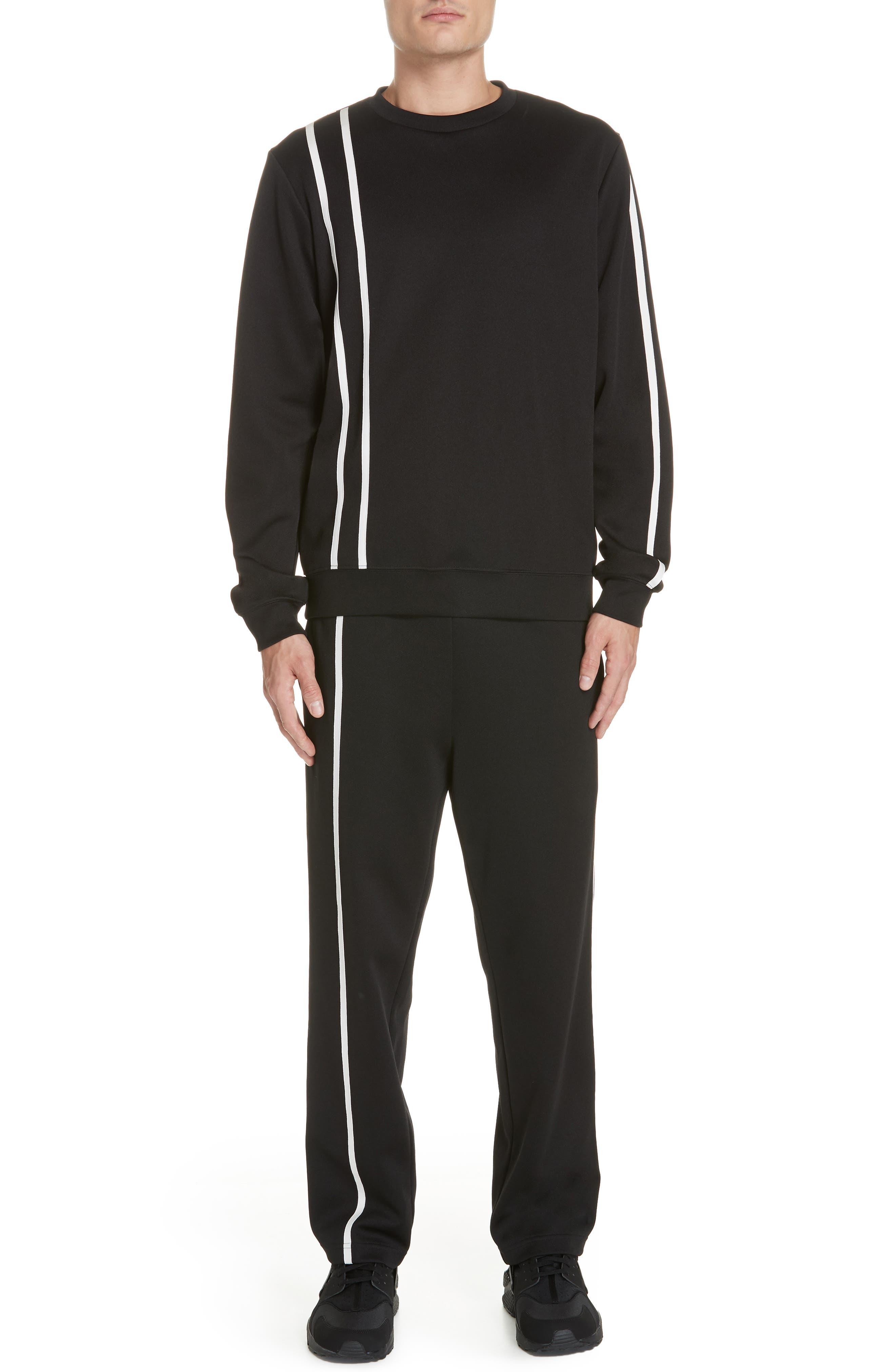 HELMUT LANG, Sport Stripe Sweatpants, Alternate thumbnail 7, color, BLACK AND WHITE