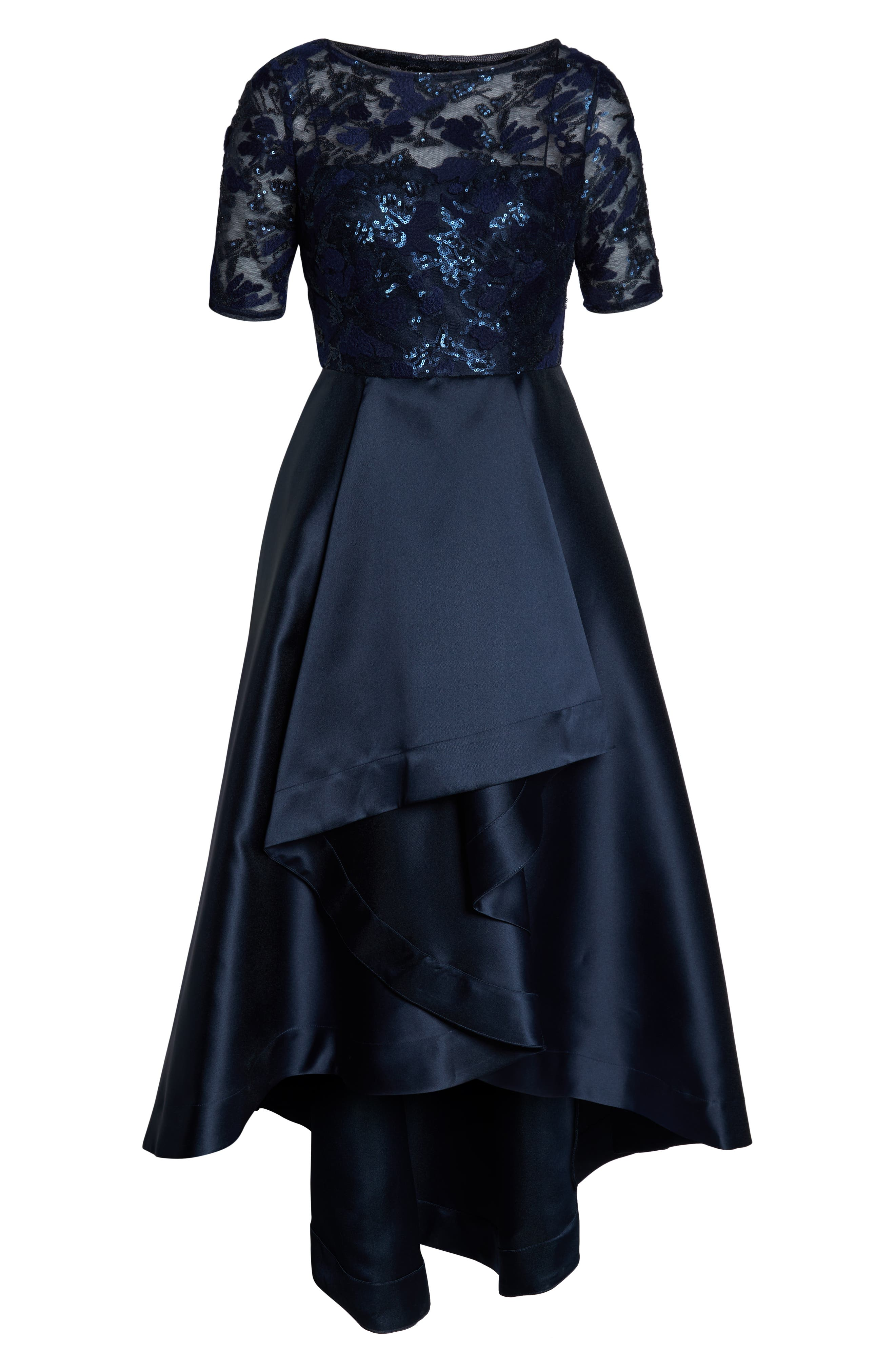 ADRIANNA PAPELL, Sequin Lace High/Low Evening Dress, Alternate thumbnail 7, color, MIDNIGHT
