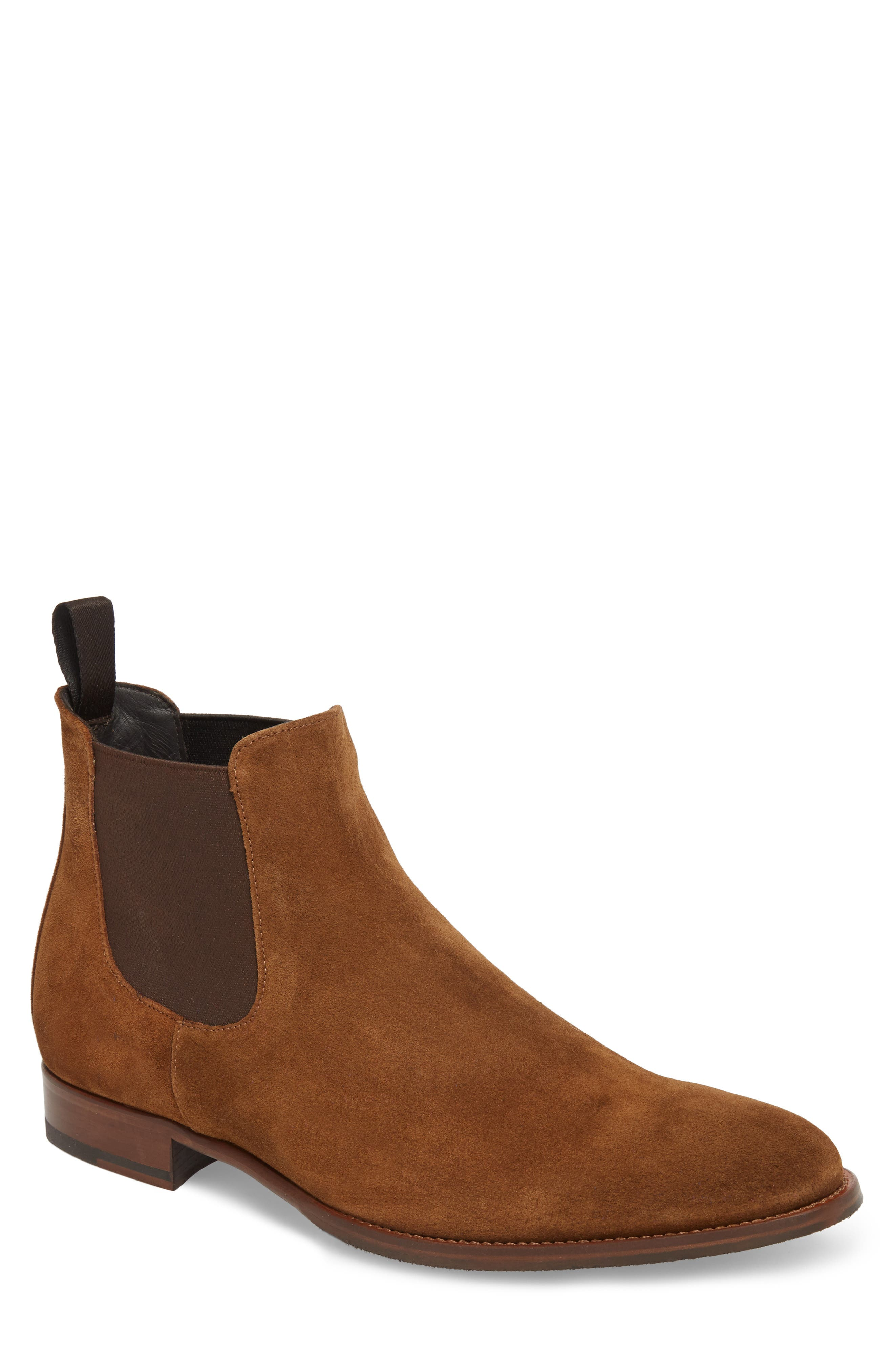 TO BOOT NEW YORK, Shelby Mid Chelsea Boot, Main thumbnail 1, color, MID BROWN SUEDE