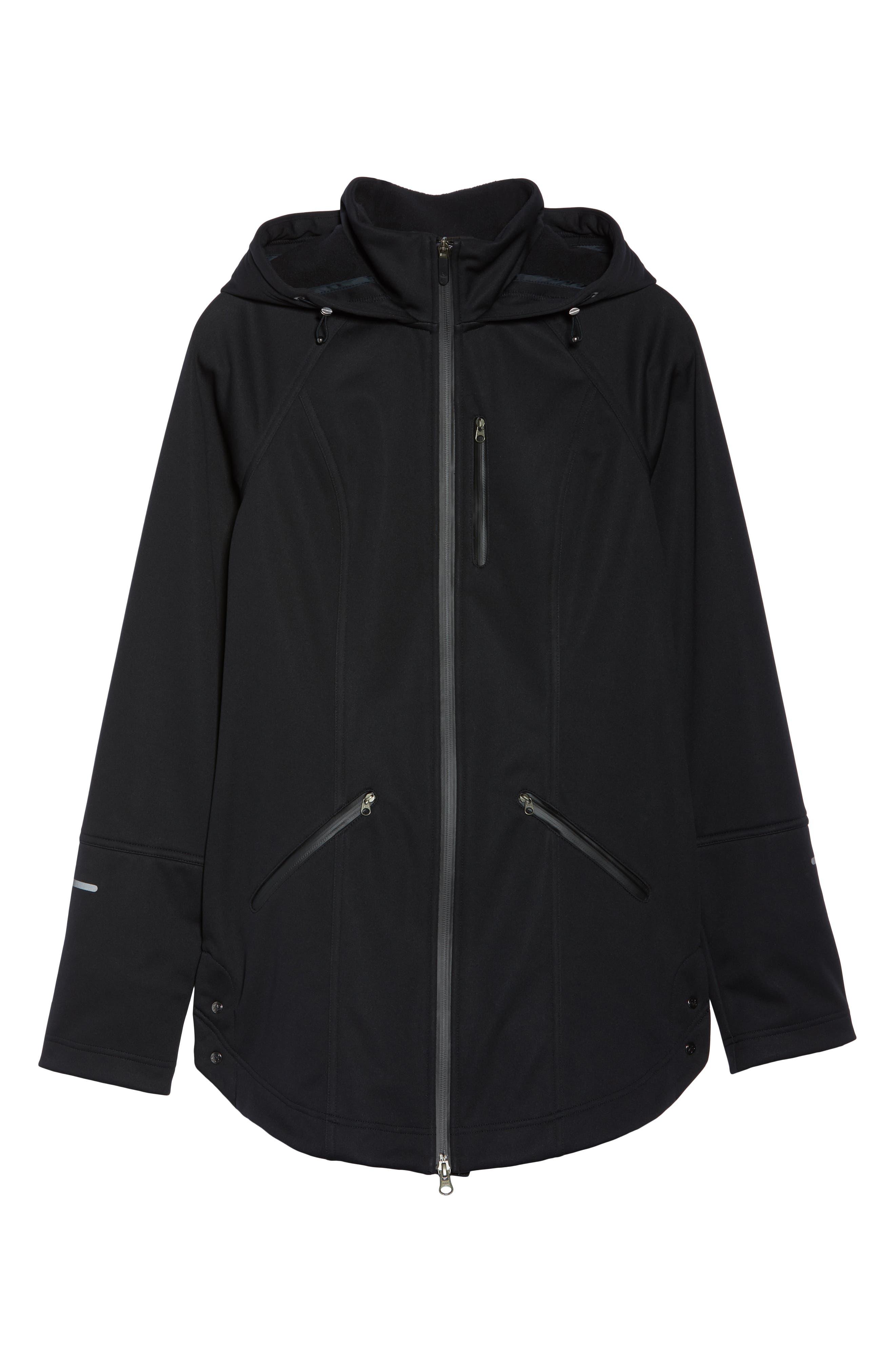 ZELLA, Aero Hooded Soft Shell Training Jacket, Alternate thumbnail 6, color, 001