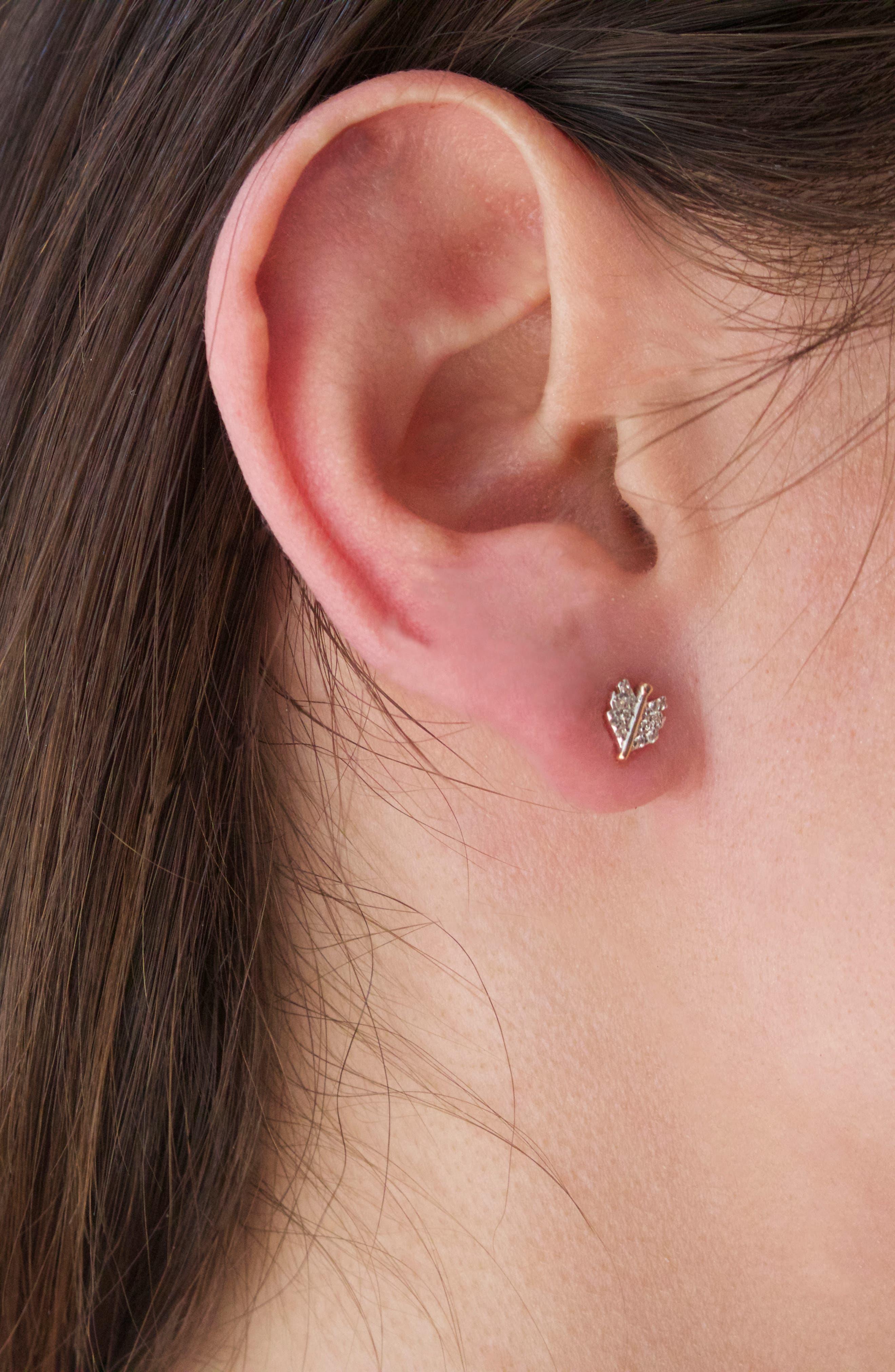 KISMET BY MILKA, Diamond Mini Quill Stud Earring, Alternate thumbnail 3, color, ROSE GOLD/ DIAMOND