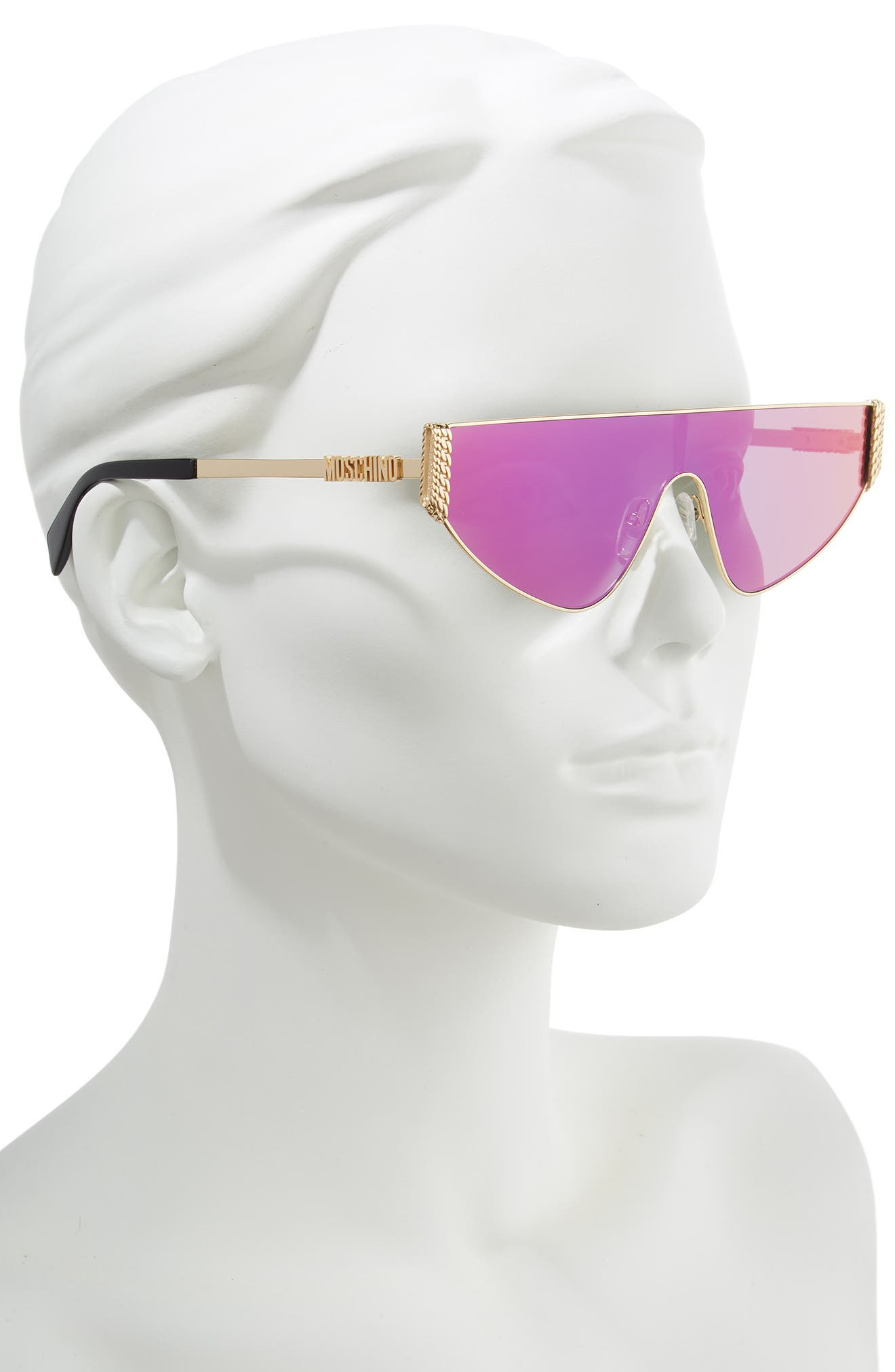 MOSCHINO, 99mm Shield Sunglasses, Alternate thumbnail 2, color, ROSE GOLD