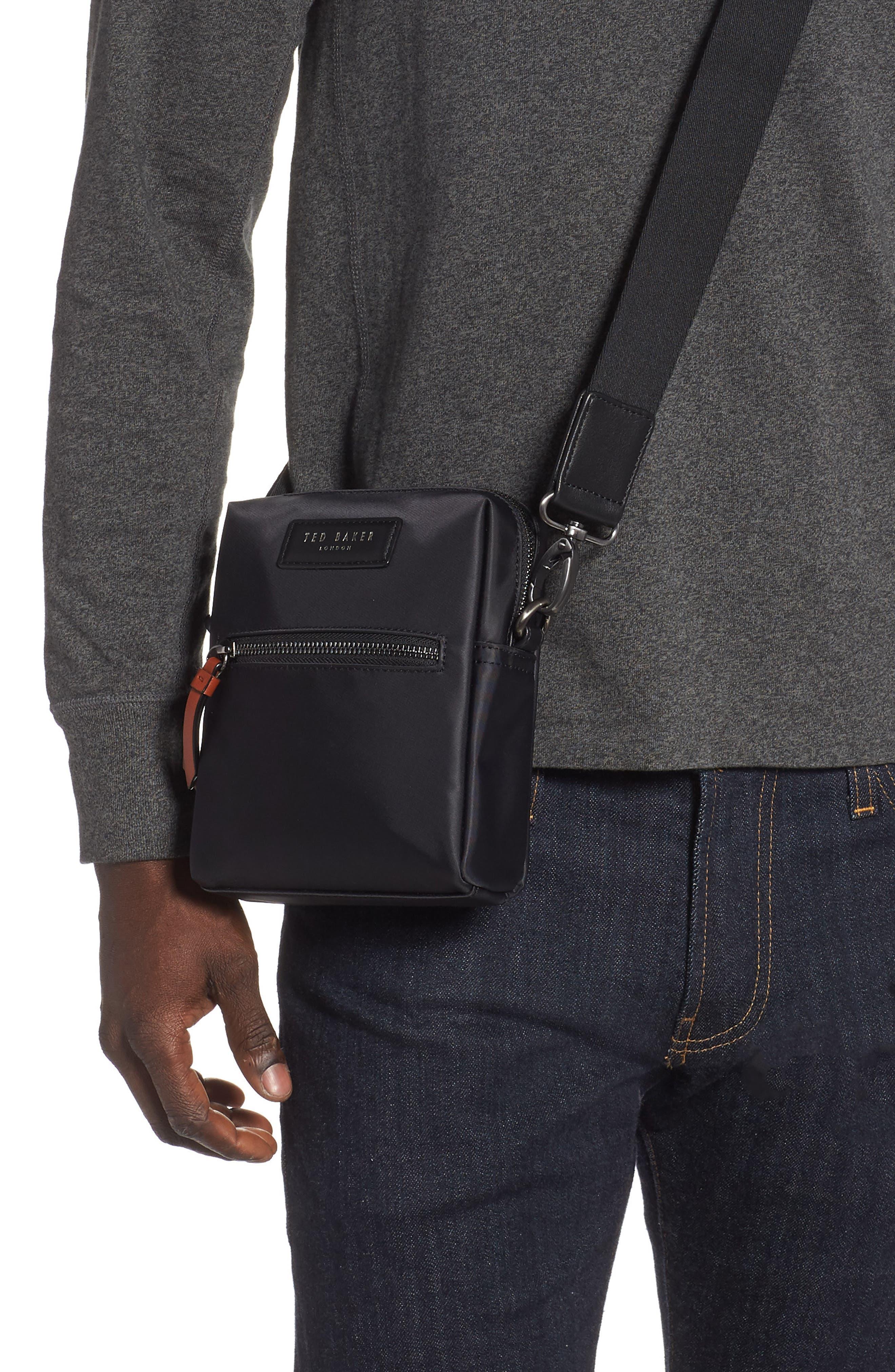 TED BAKER LONDON, Mini Flight Bag, Alternate thumbnail 2, color, BLACK