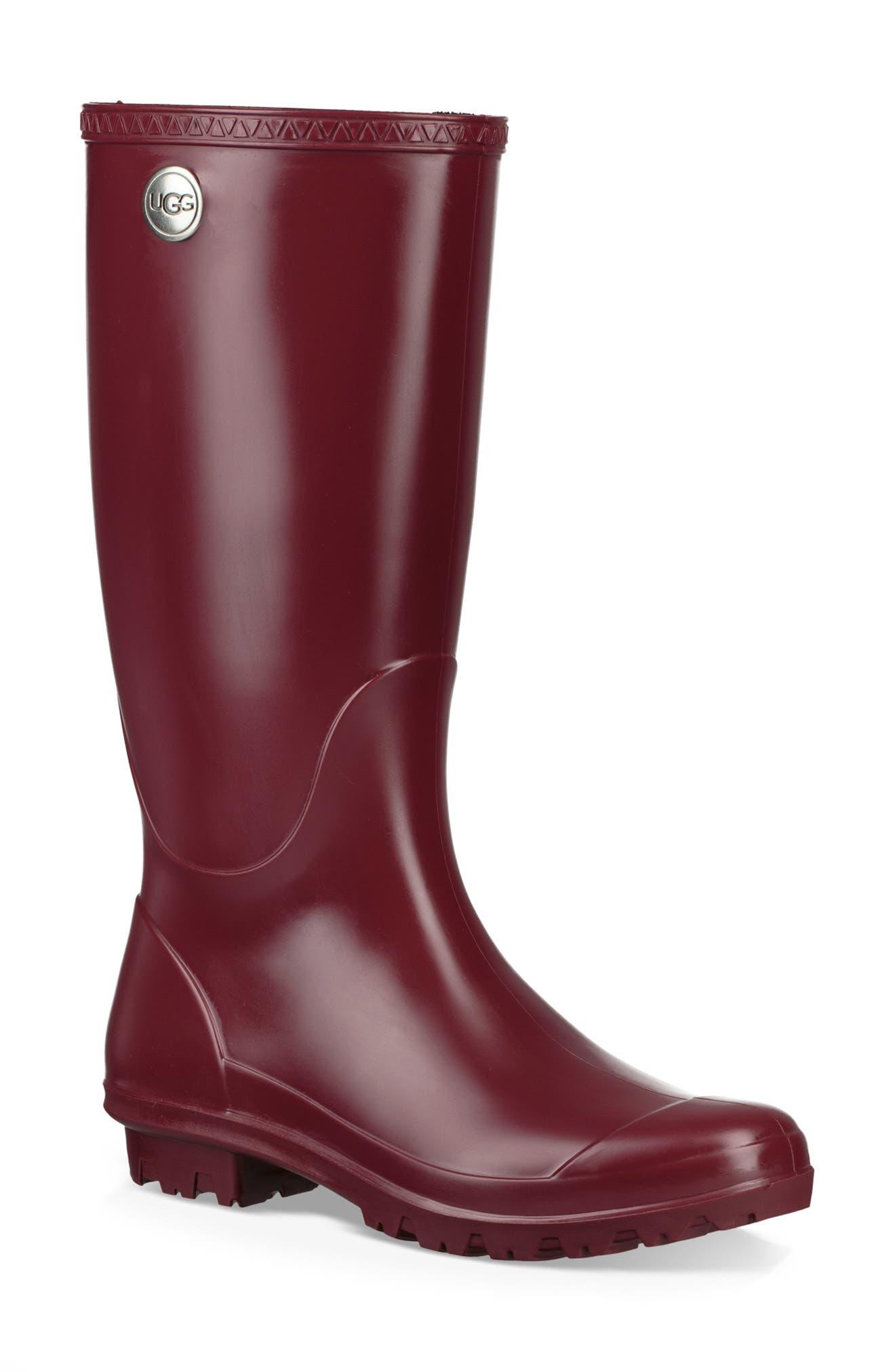 UGG<SUP>®</SUP>, Shelby Matte Waterproof Rain Boot, Main thumbnail 1, color, GARNET RUBBER