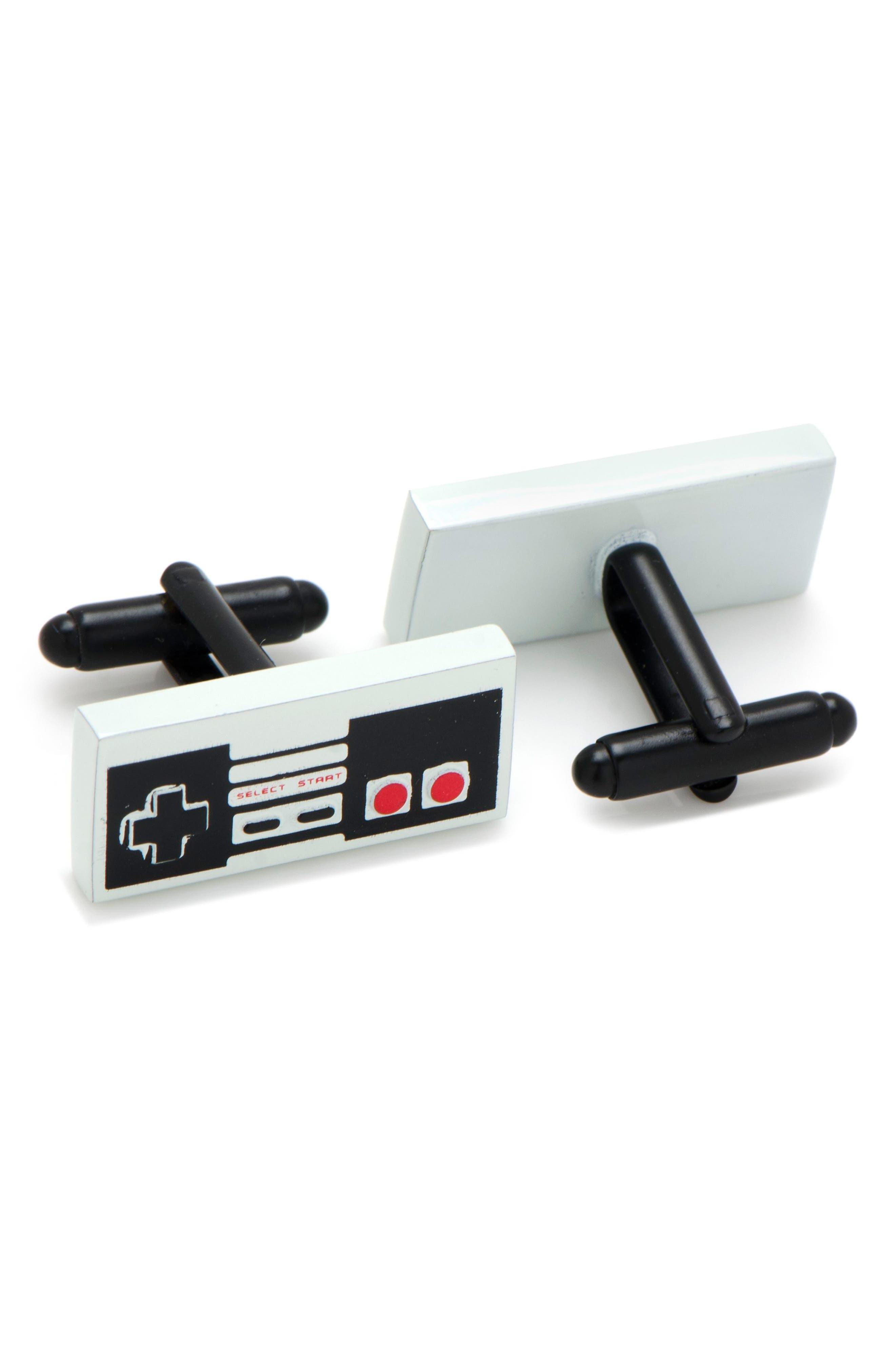 CUFFLINKS, INC., 3D Vintage Game Cuff Links, Alternate thumbnail 2, color, GREY/ BLACK