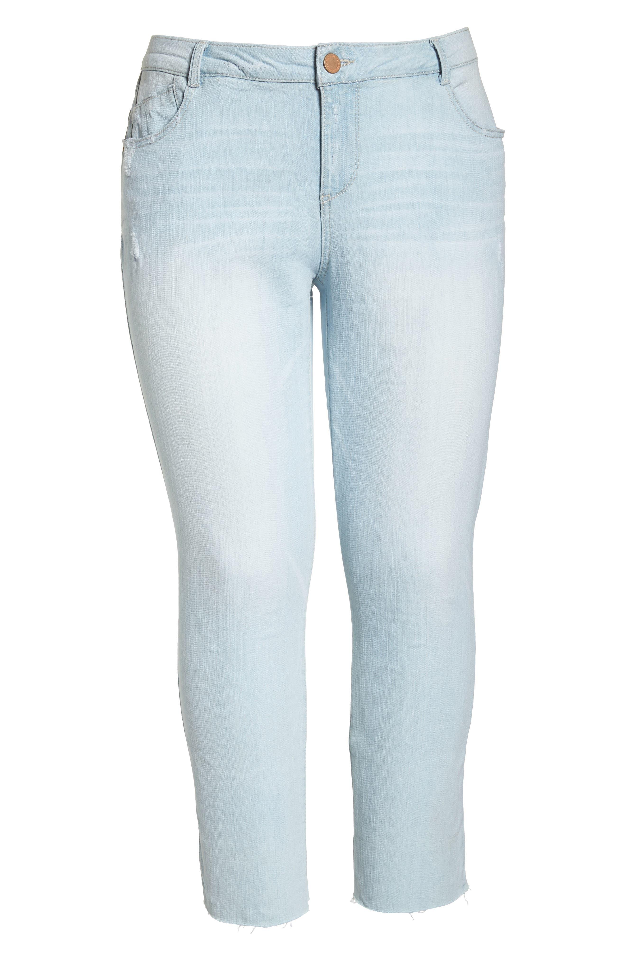 WIT & WISDOM, Flex-ellent Distressed Boyfriend Jeans, Alternate thumbnail 7, color, LIGHT BLUE
