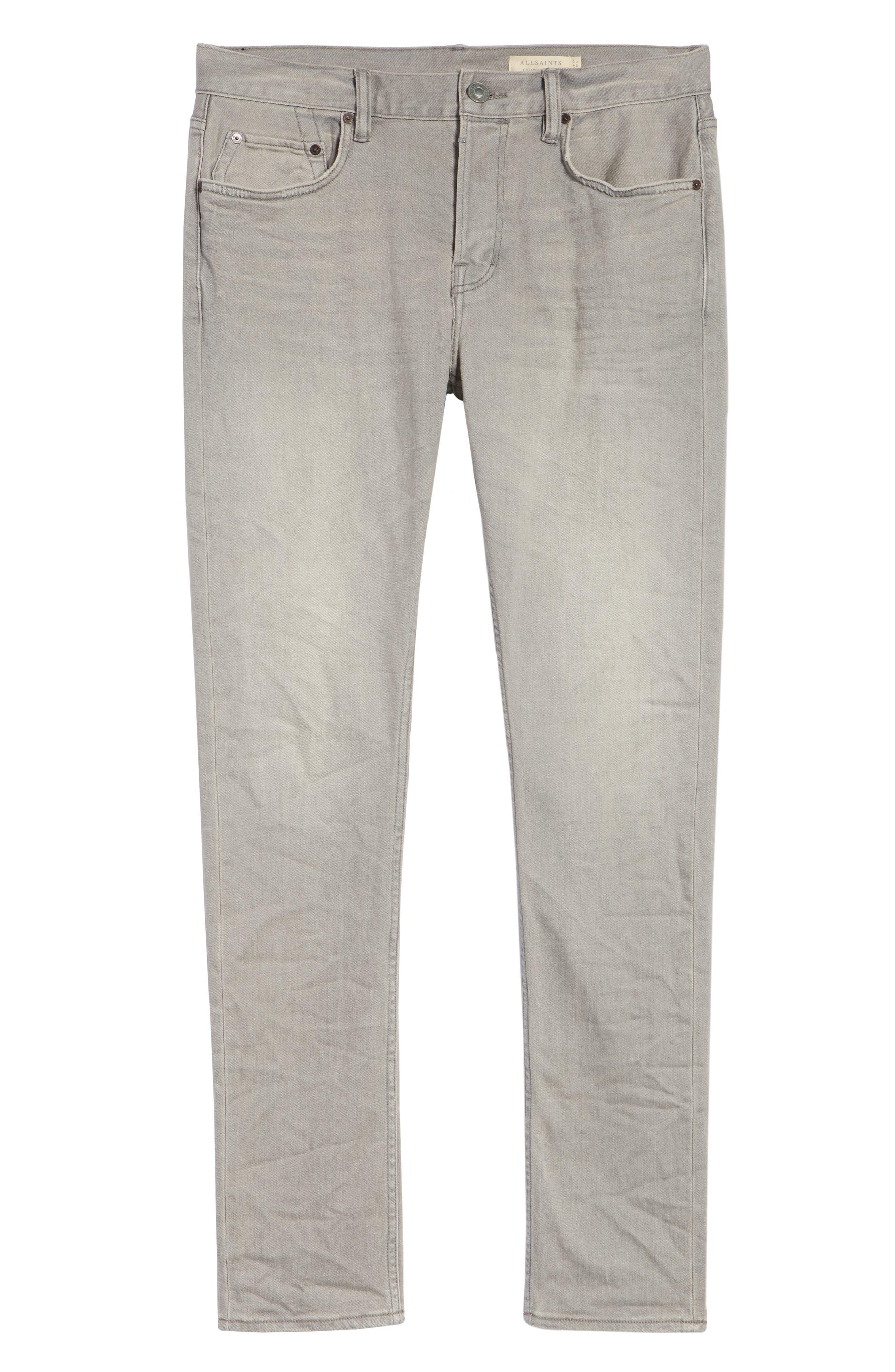 ALLSAINTS, Raveline Cigarette Skinny Fit Jeans, Alternate thumbnail 7, color, GREY