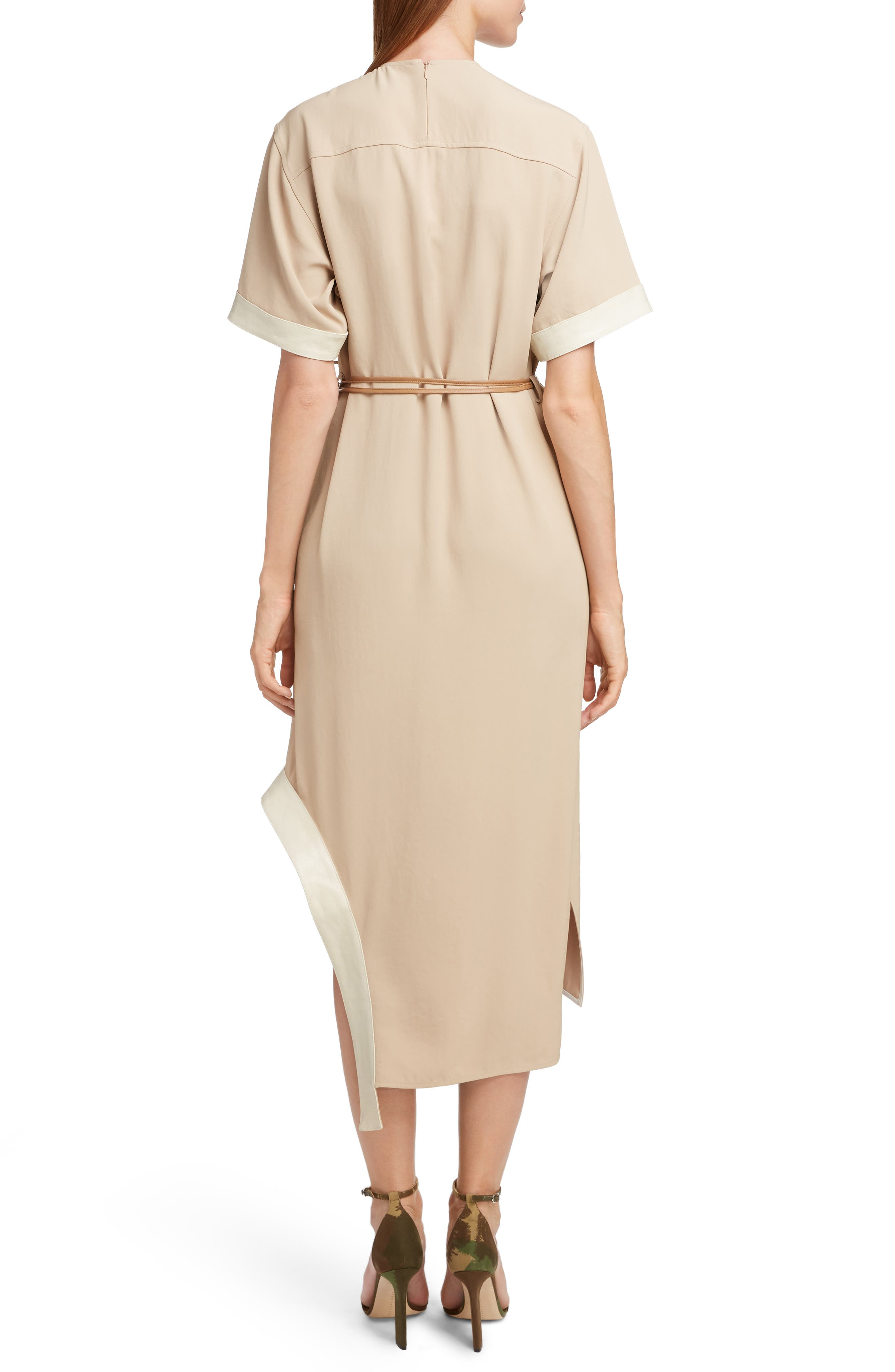 VICTORIA BECKHAM, Leather Belt Asymmetrical Dress, Alternate thumbnail 2, color, BEIGE/ CAMEL