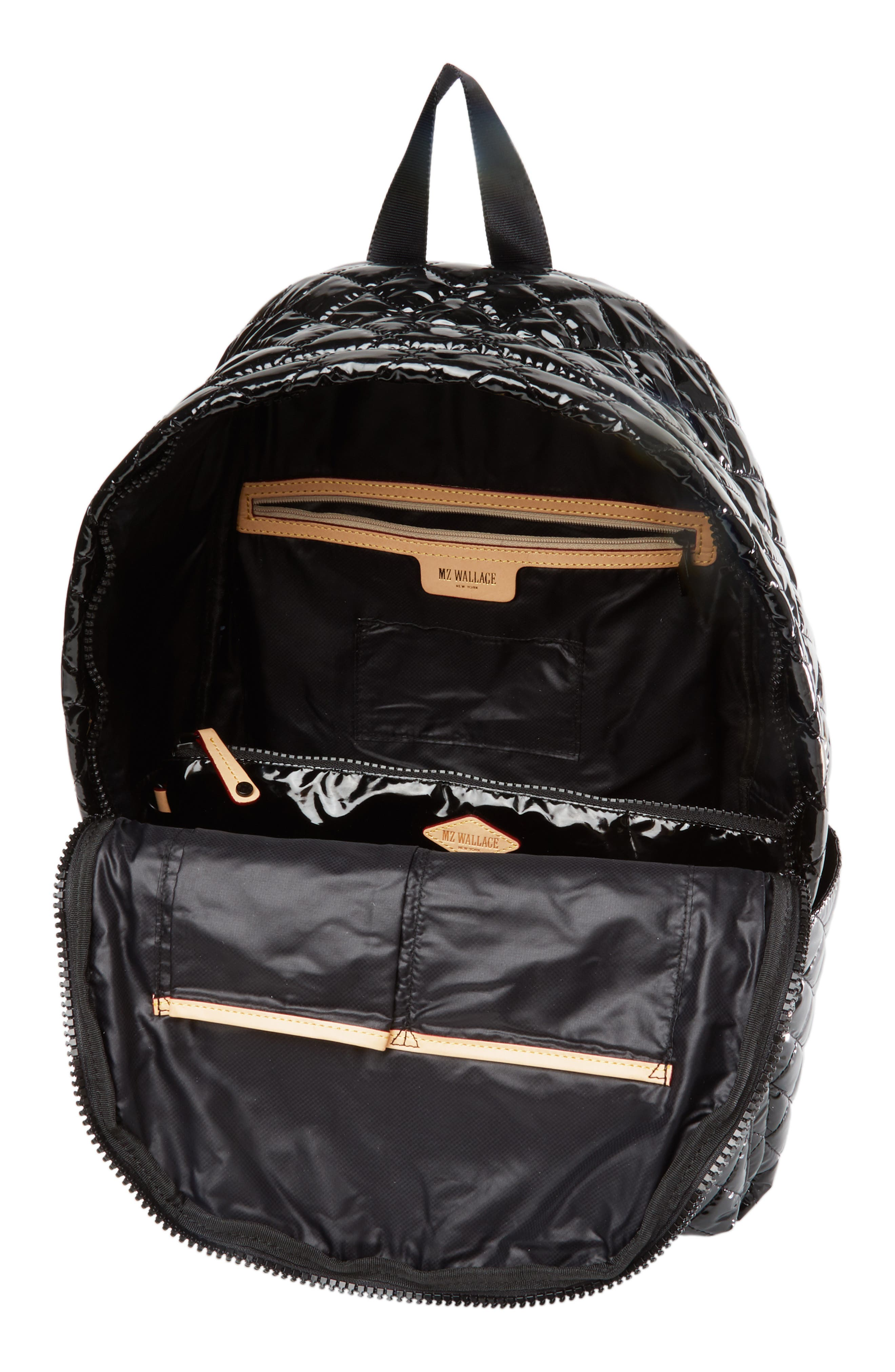 MZ WALLACE, Metro Backpack, Alternate thumbnail 5, color, BLACK LACQUER QUILTED