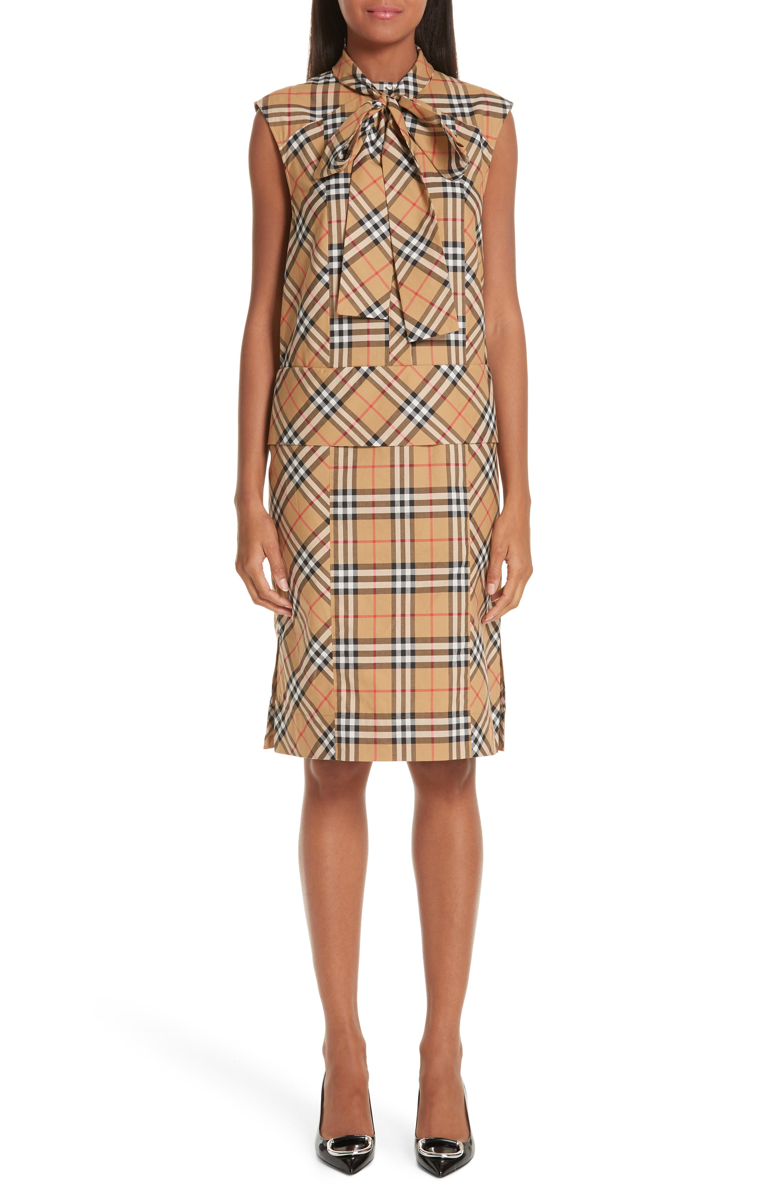BURBERRY Luna Tie Neck Check Dress, Main, color, ANTIQUE YELLOW CHECK
