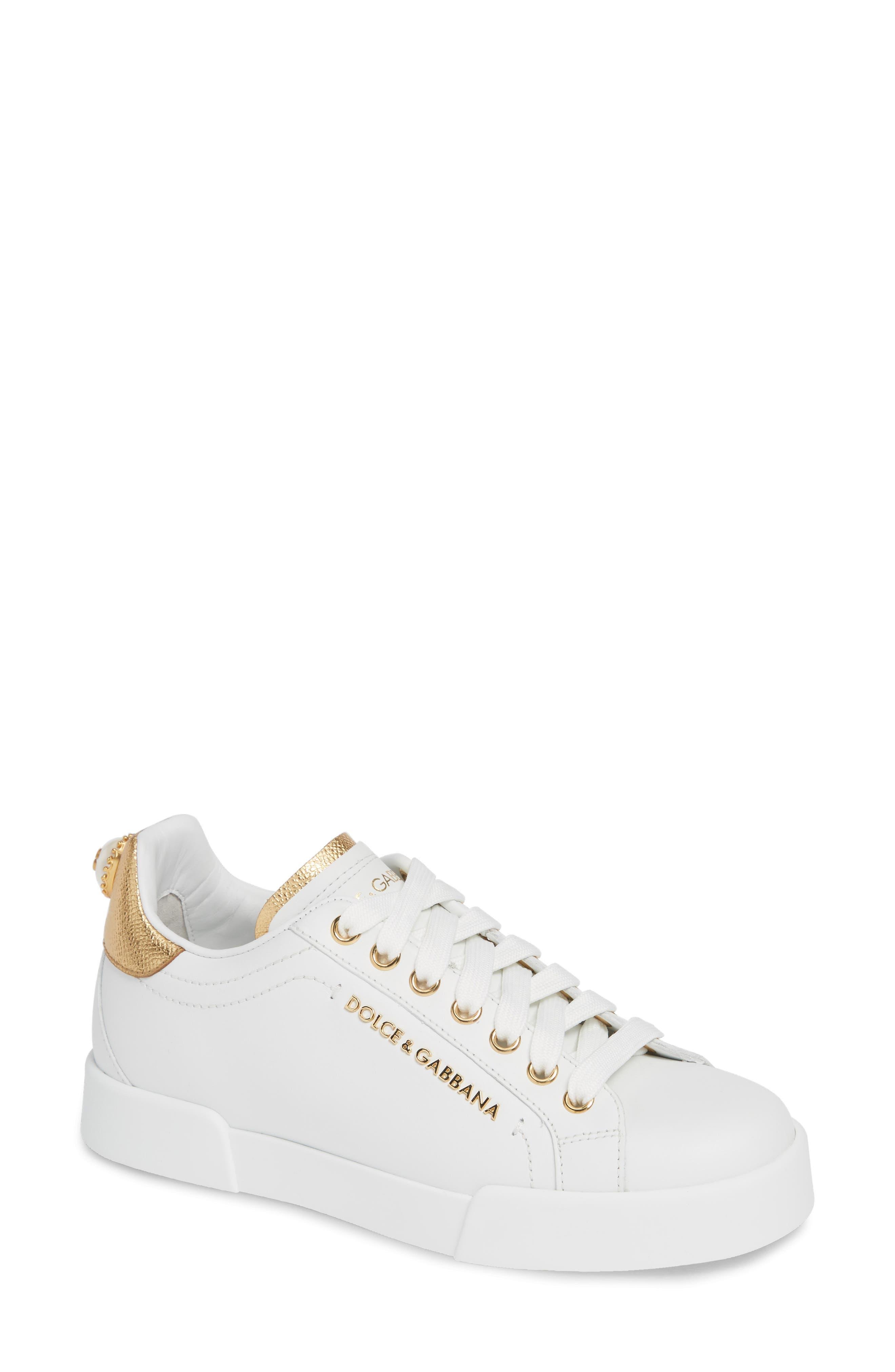 DOLCE&GABBANA, Portofino Embellished Sneaker, Main thumbnail 1, color, WHITE/ GOLD