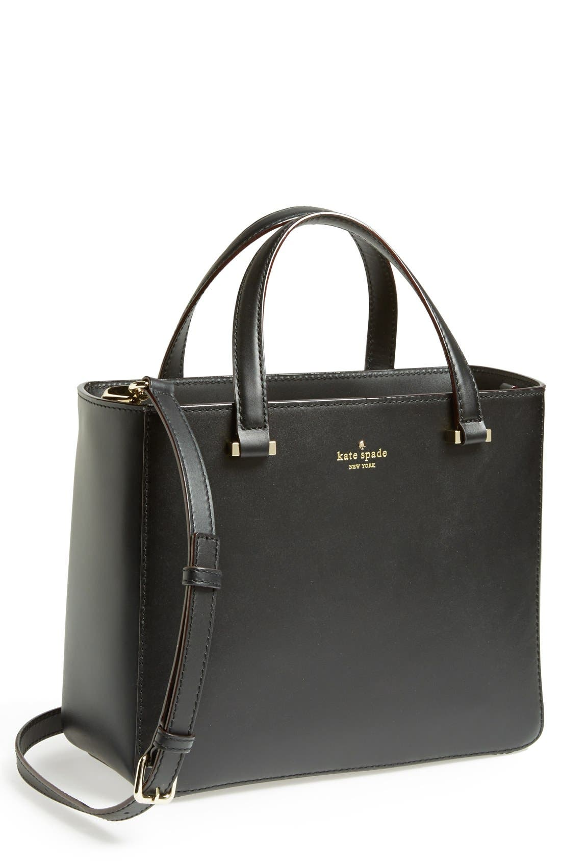 KATE SPADE NEW YORK 'park avenue sweetheart' leather crossbody tote, Main, color, 001