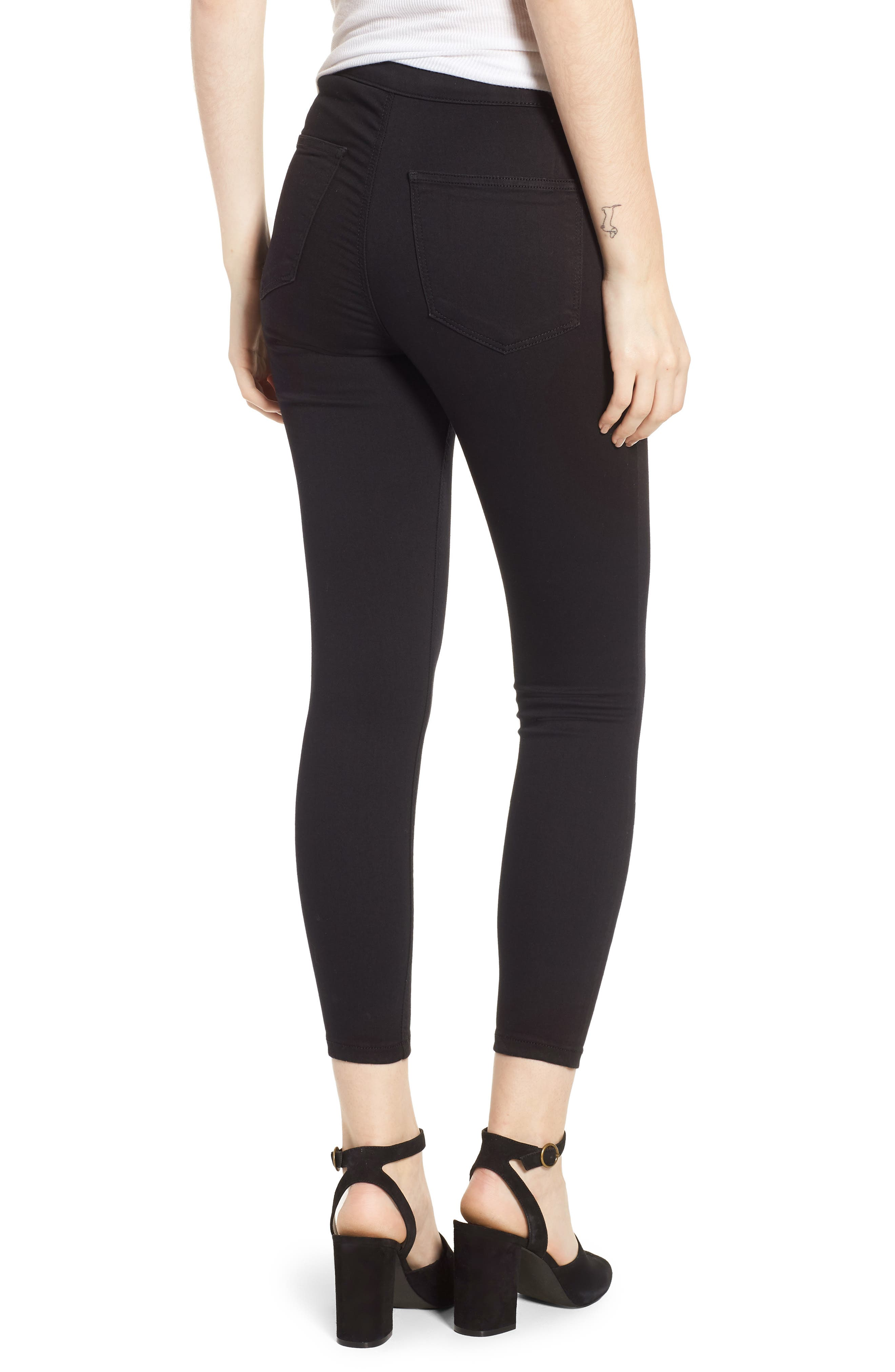 TOPSHOP, Joni Jeans, Alternate thumbnail 2, color, BLACK