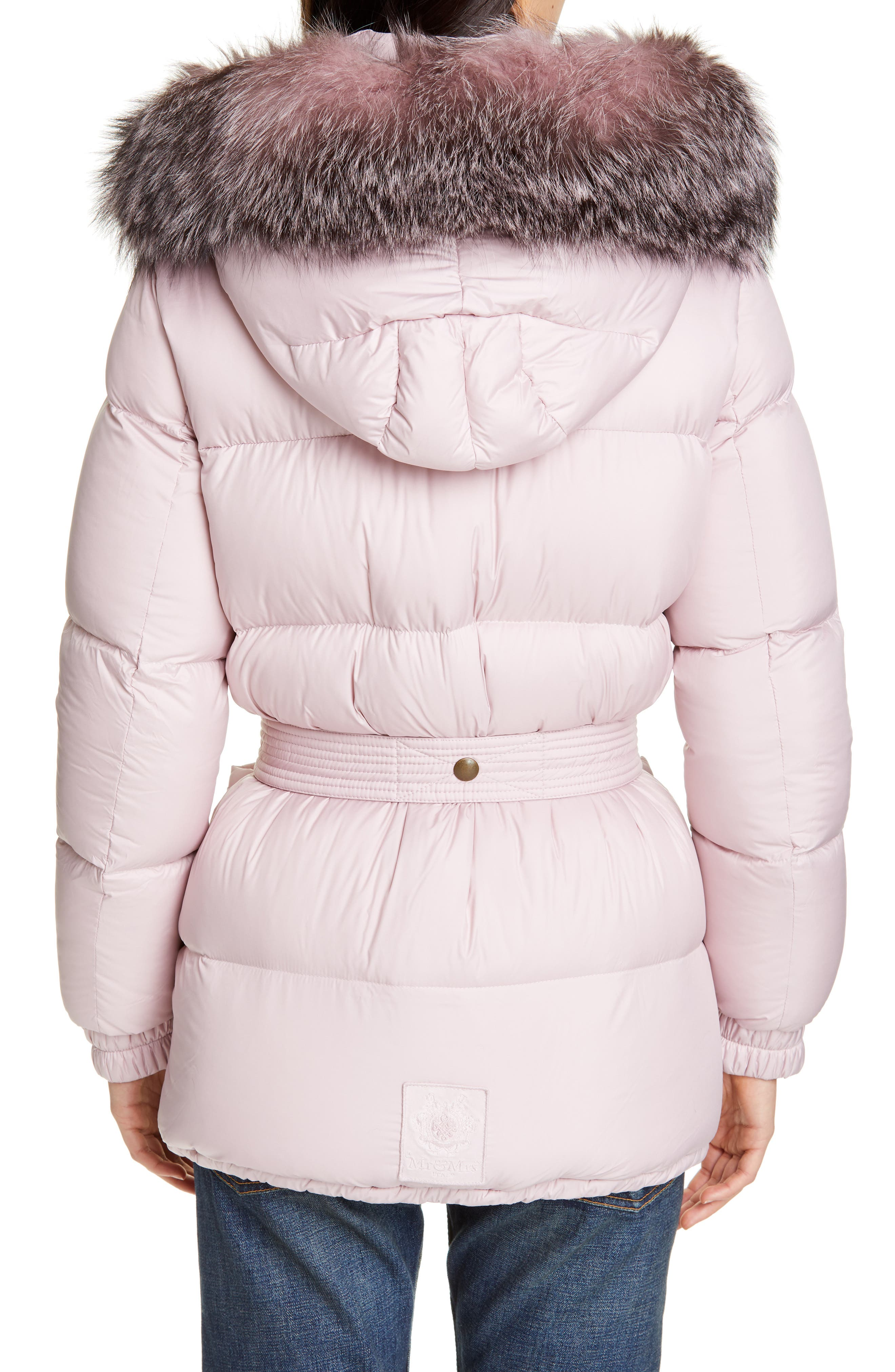 MR & MRS ITALY, Genuine Fox Fur Trim Quilted Down Puffer Coat, Alternate thumbnail 3, color, PINK