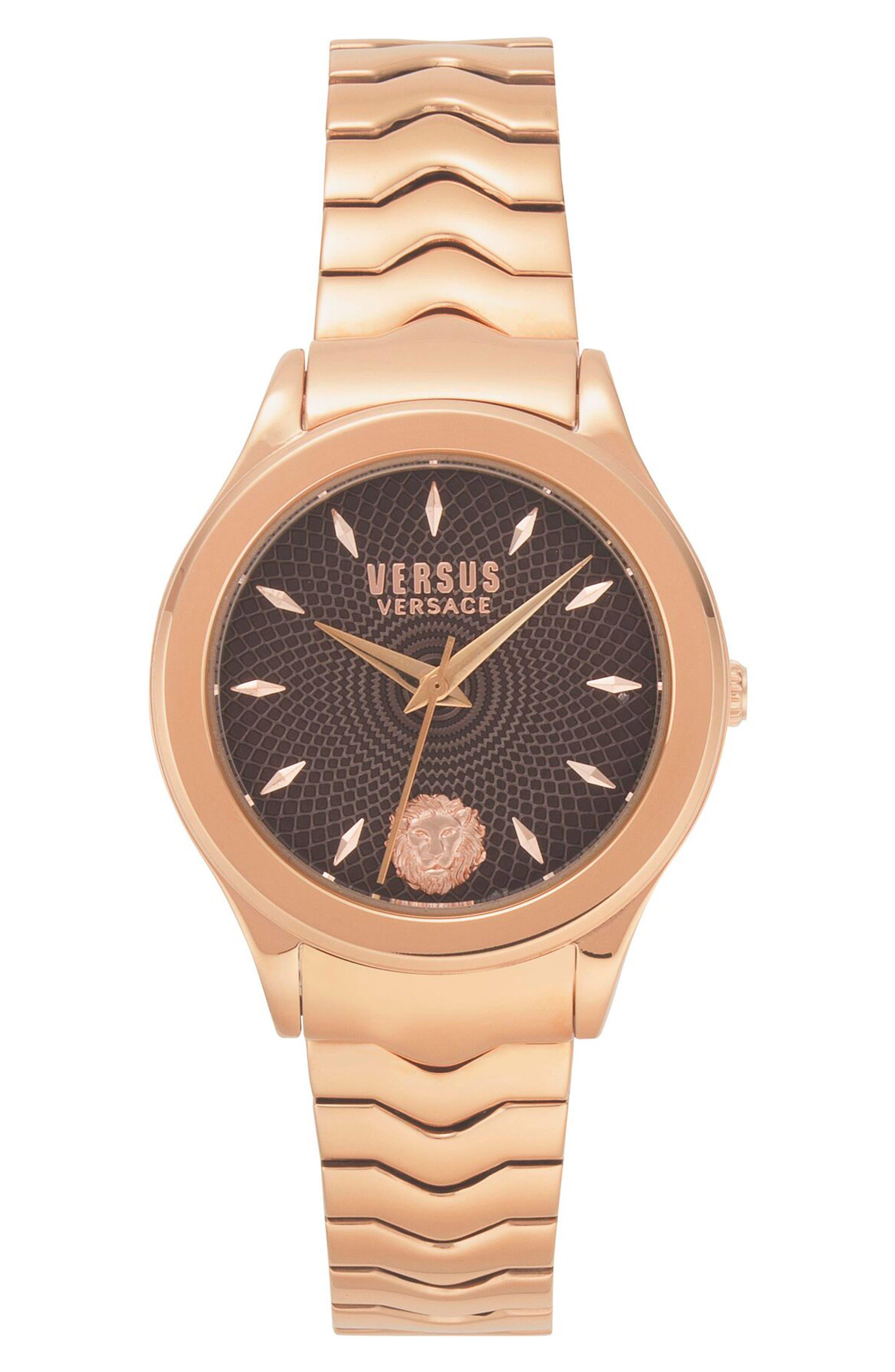 VERSUS VERSACE, Mount Pleasant Bracelet Watch, 34mm, Main thumbnail 1, color, ROSE GOLD/ BLACK/ ROSE GOLD