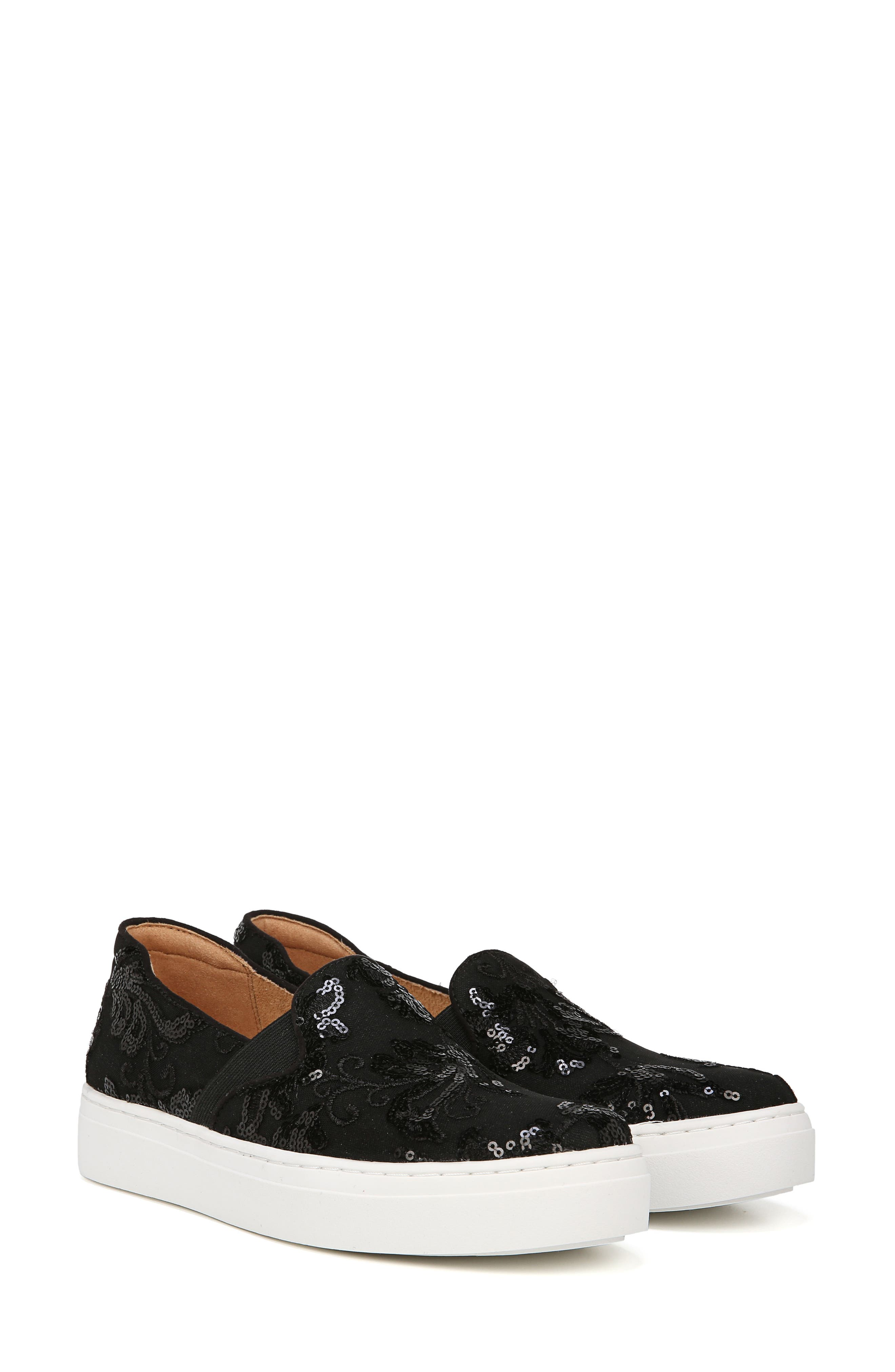 NATURALIZER, Carly Slip-On Sneaker, Alternate thumbnail 9, color, BLACK EMBROIDERED LACE