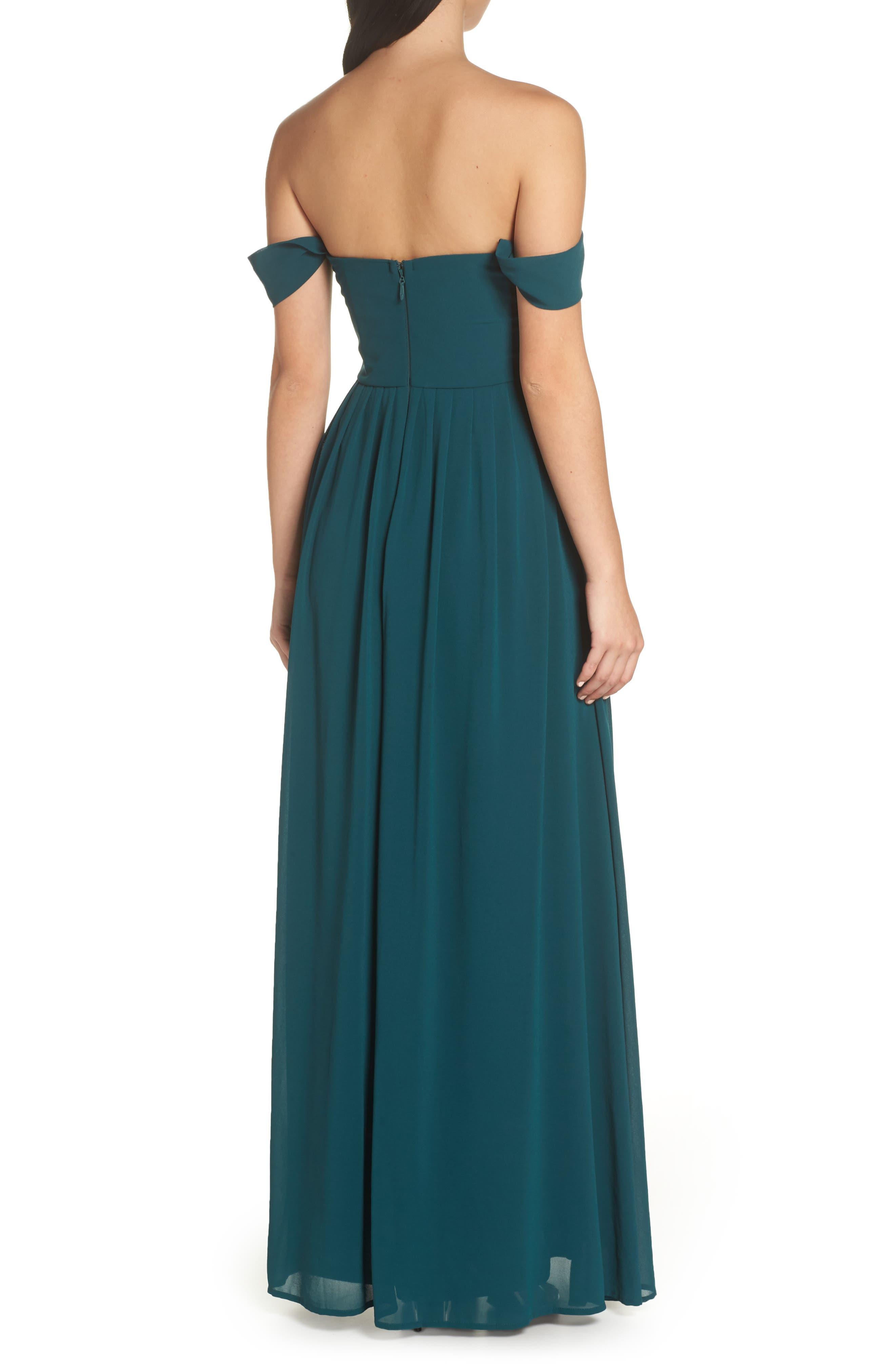 LULUS, Convertible Neckline Chiffon Gown, Alternate thumbnail 2, color, DEEP EMERALD