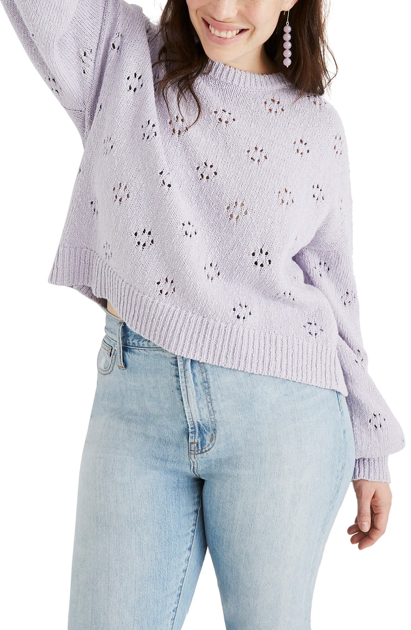 MADEWELL, Floral Pointelle Pullover Sweater, Alternate thumbnail 2, color, SUNDRENCHED LILAC