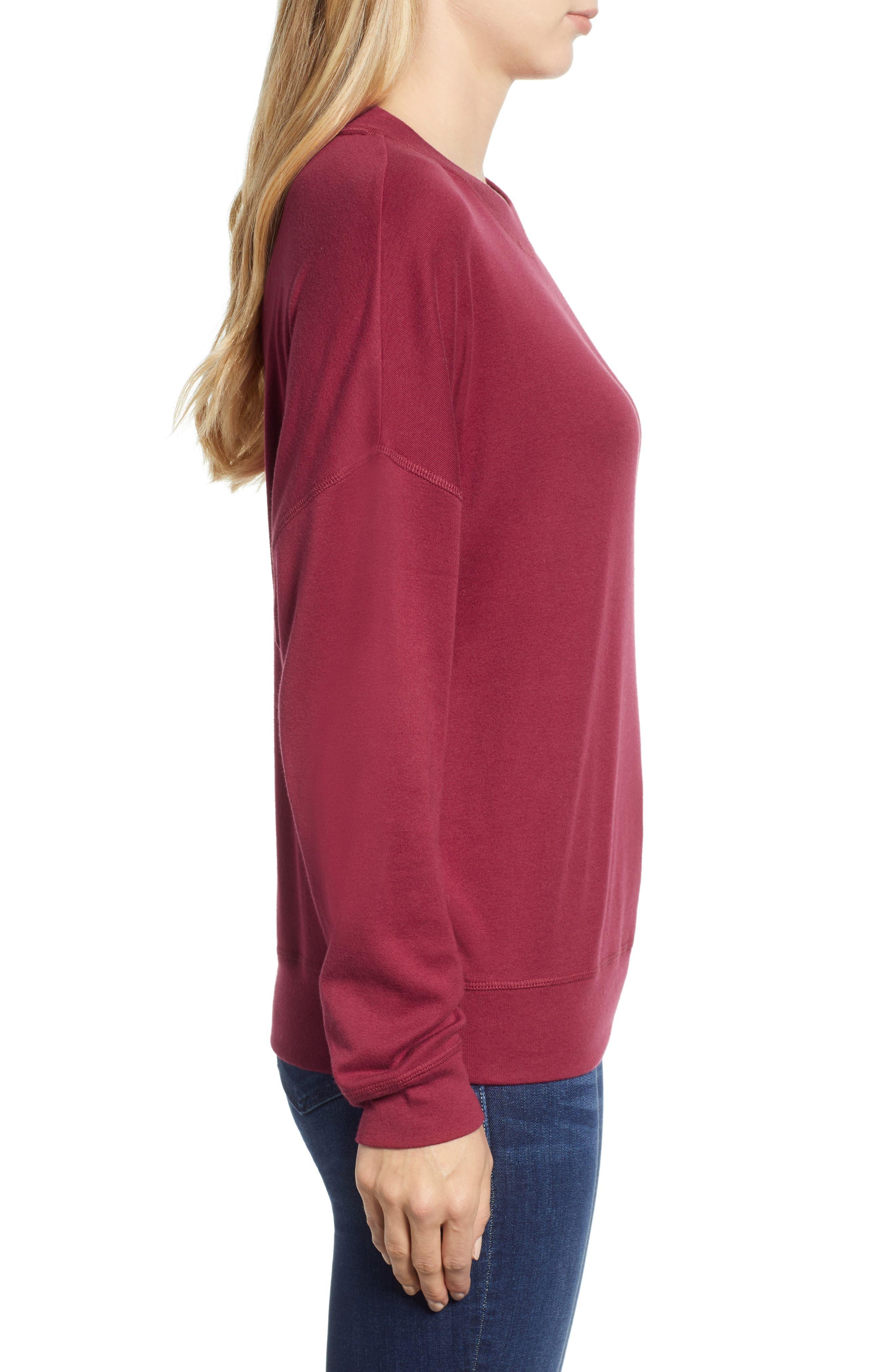 CASLON<SUP>®</SUP>, Sweatshirt, Alternate thumbnail 3, color, RED RUMBA