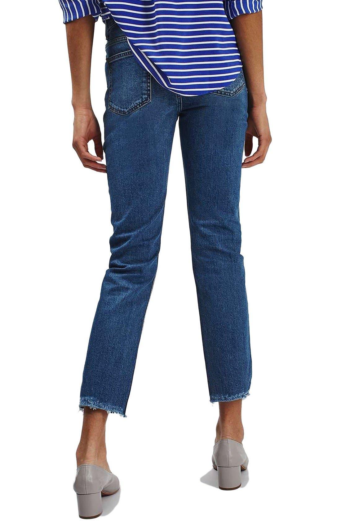 TOPSHOP, Raw Hem Straight Leg Jeans, Alternate thumbnail 2, color, 401
