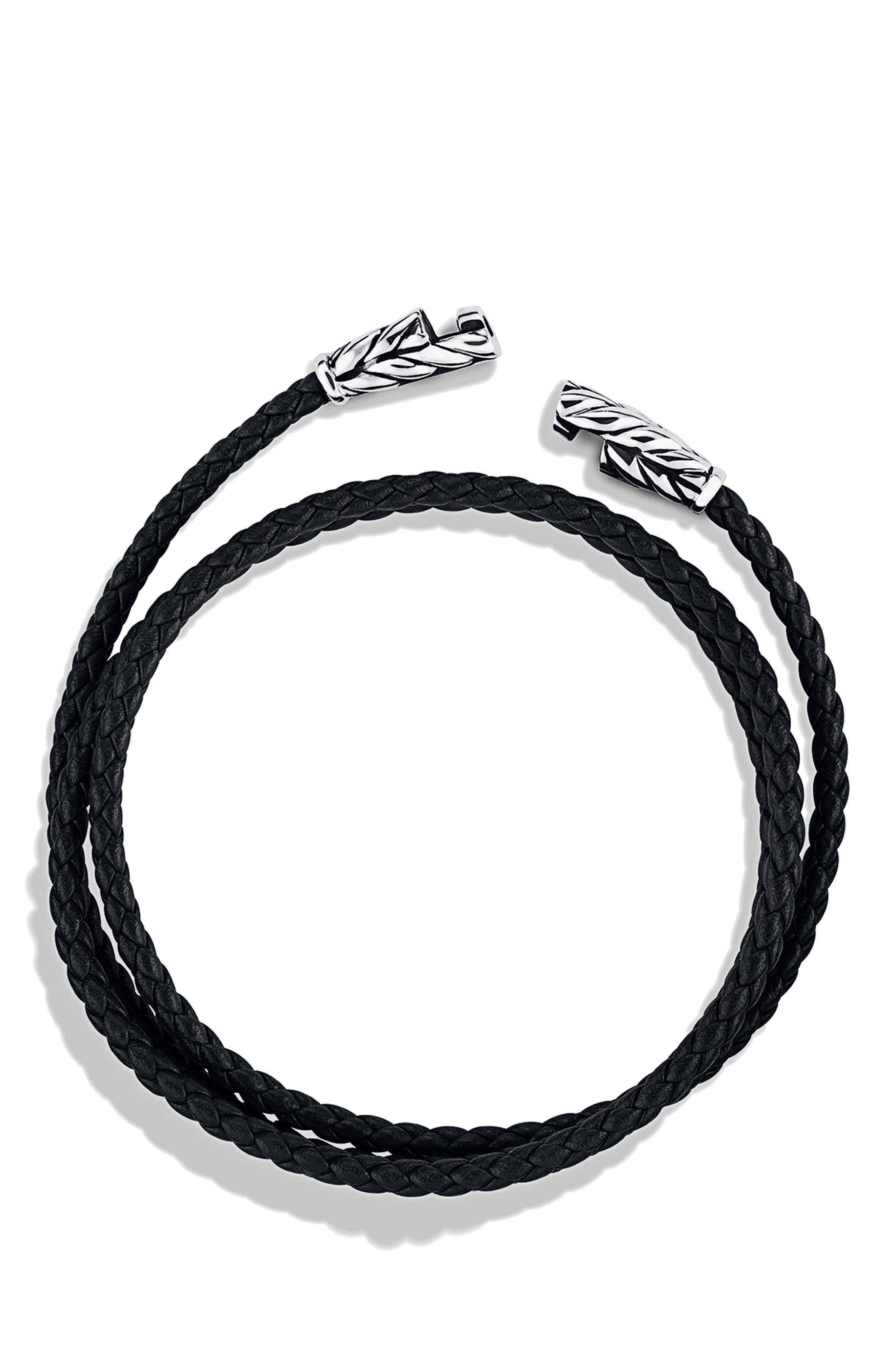 DAVID YURMAN, 'Chevron' Triple-Wrap Bracelet, Alternate thumbnail 2, color, BLACK LEATHER