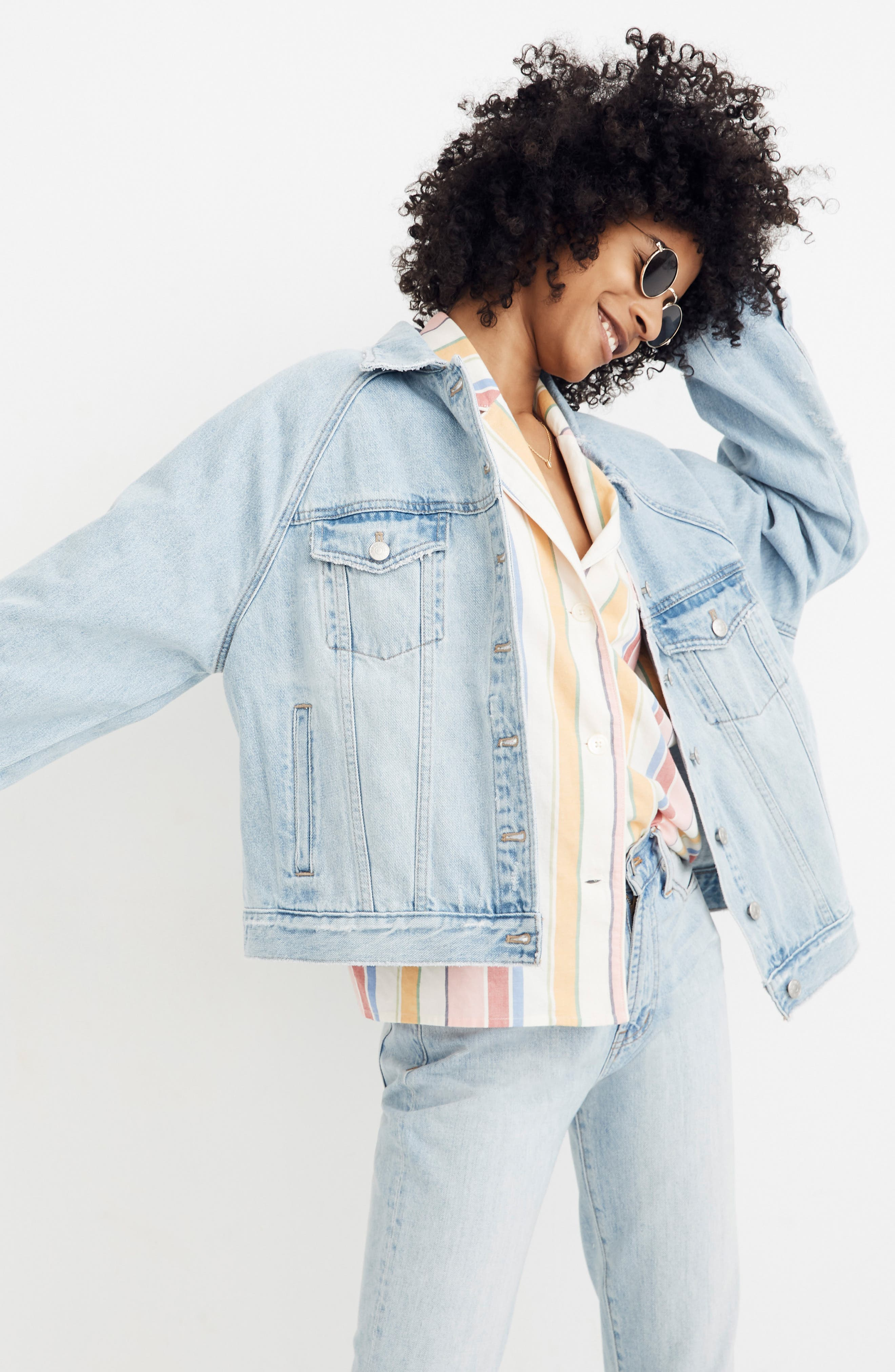 MADEWELL, The Raglan Oversize Jean Jacket, Alternate thumbnail 5, color, BRISTOL