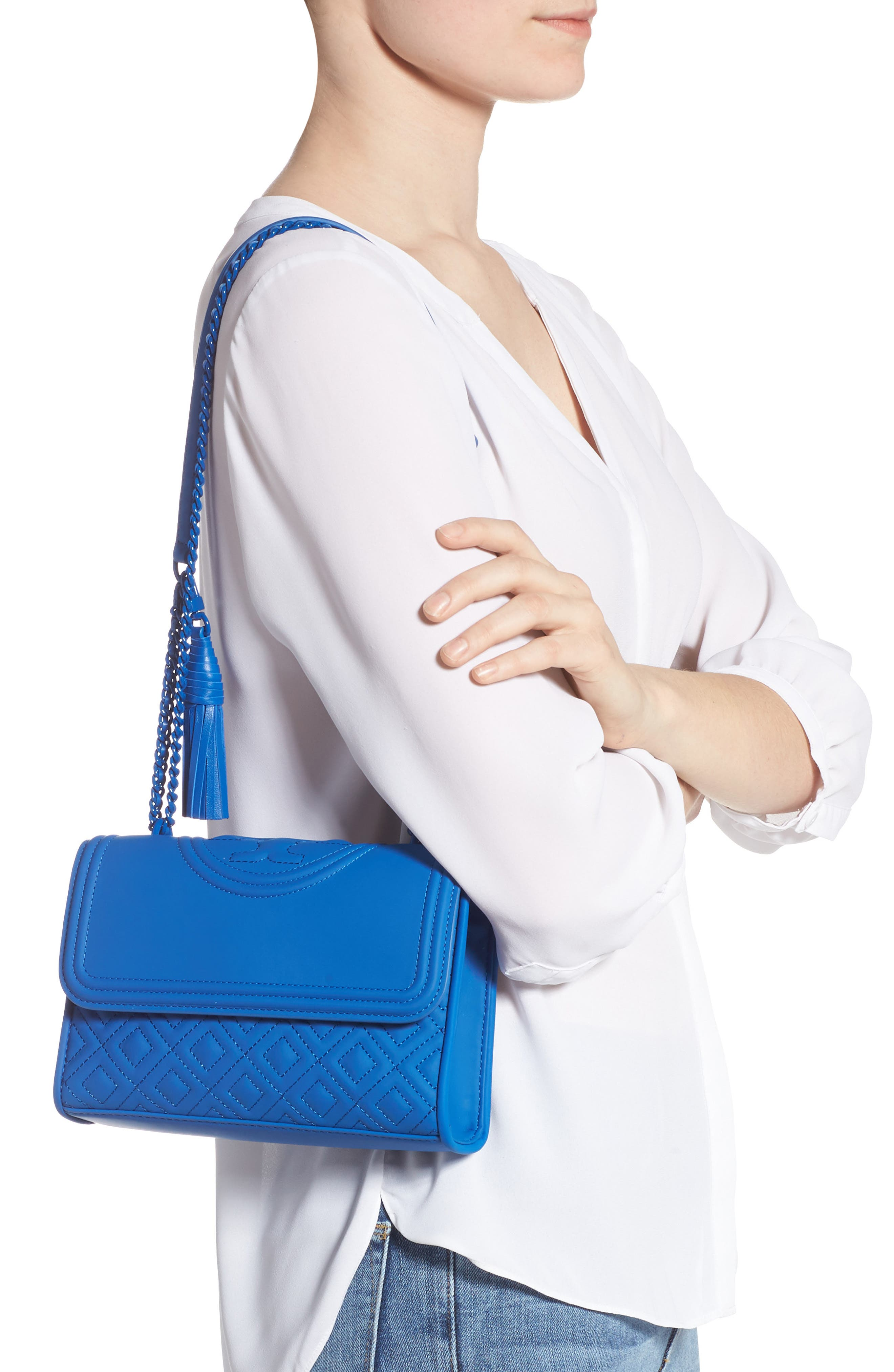 TORY BURCH, Small Fleming Matte Quilted Shoulder Bag, Alternate thumbnail 2, color, MEDITERRANEAN BLUE