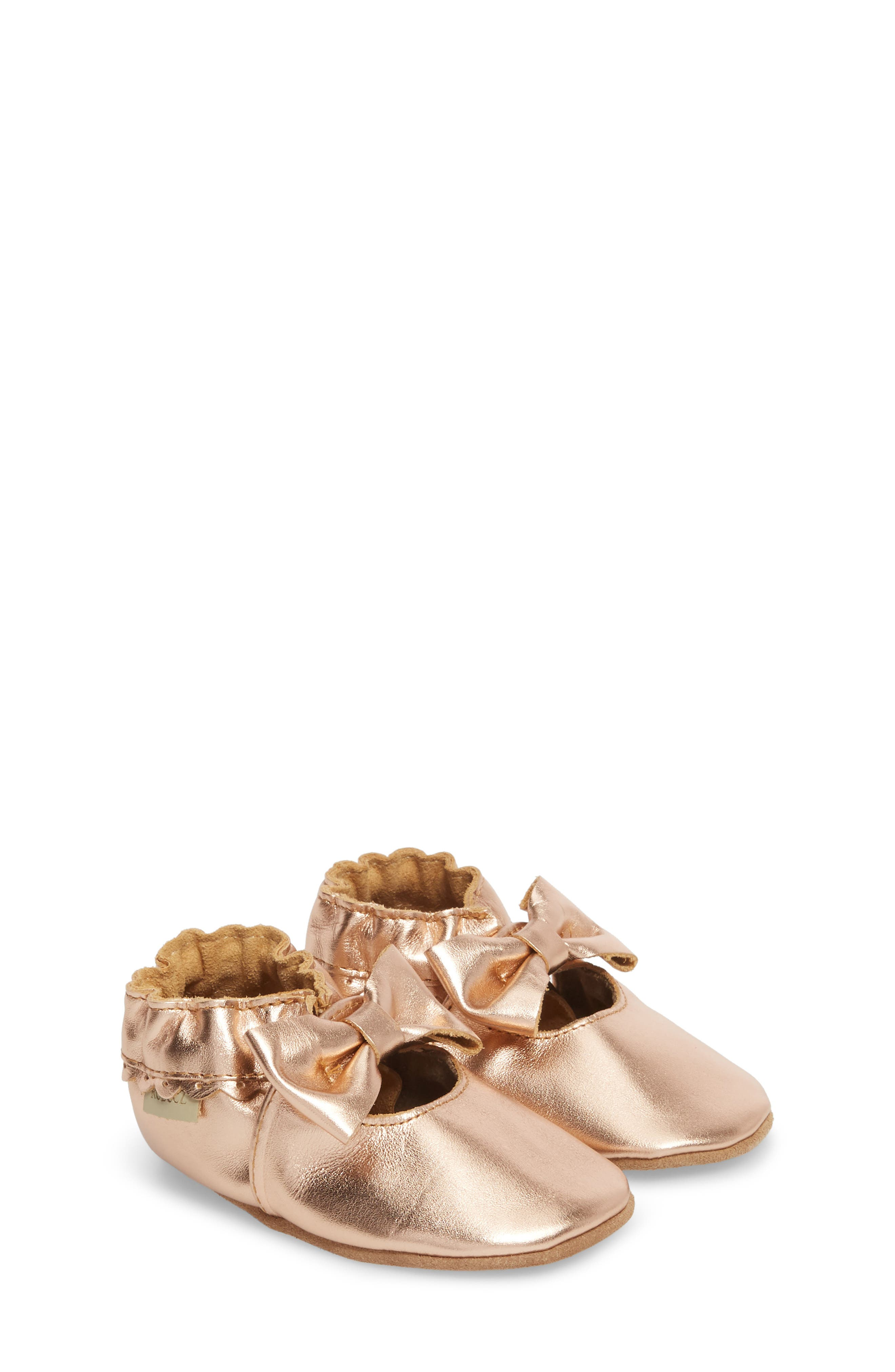 ROBEEZ<SUP>®</SUP>, Rosie Crib Shoes, Main thumbnail 1, color, ROSE GOLD