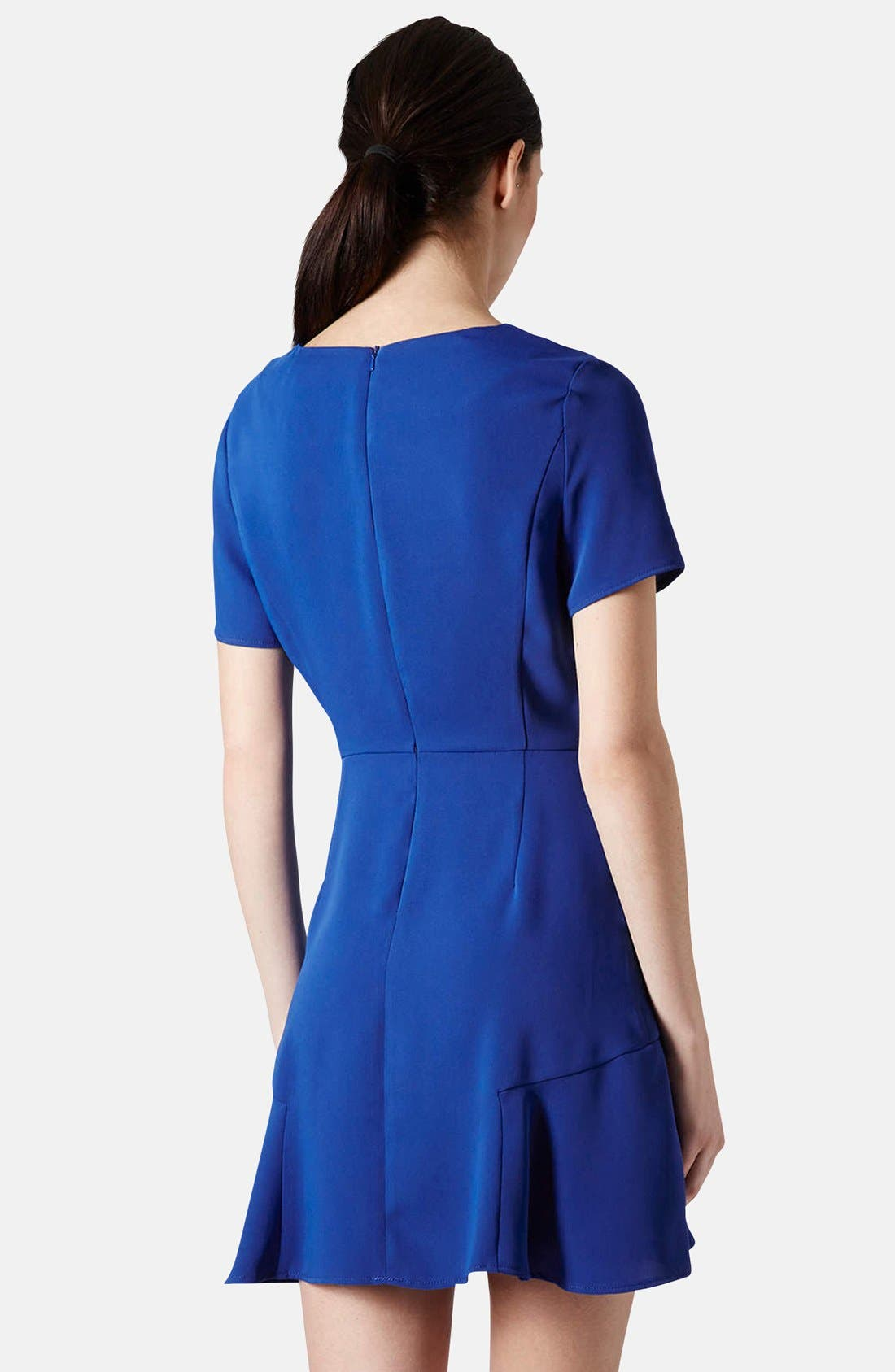 TOPSHOP, Crepe Fit & Flare Dress, Alternate thumbnail 4, color, 430