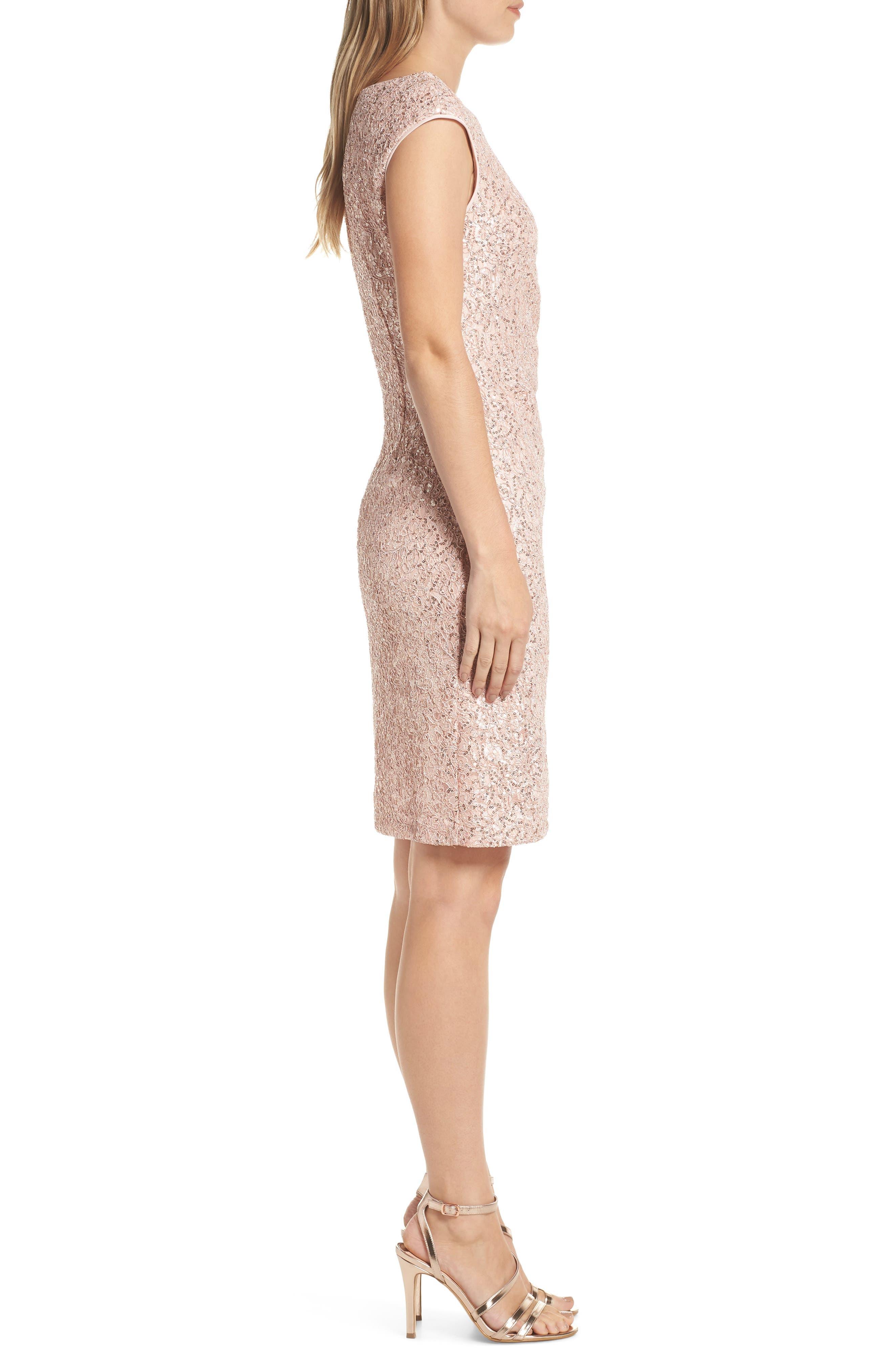 VINCE CAMUTO, Sequin Lace Sheath Dress, Alternate thumbnail 4, color, 684