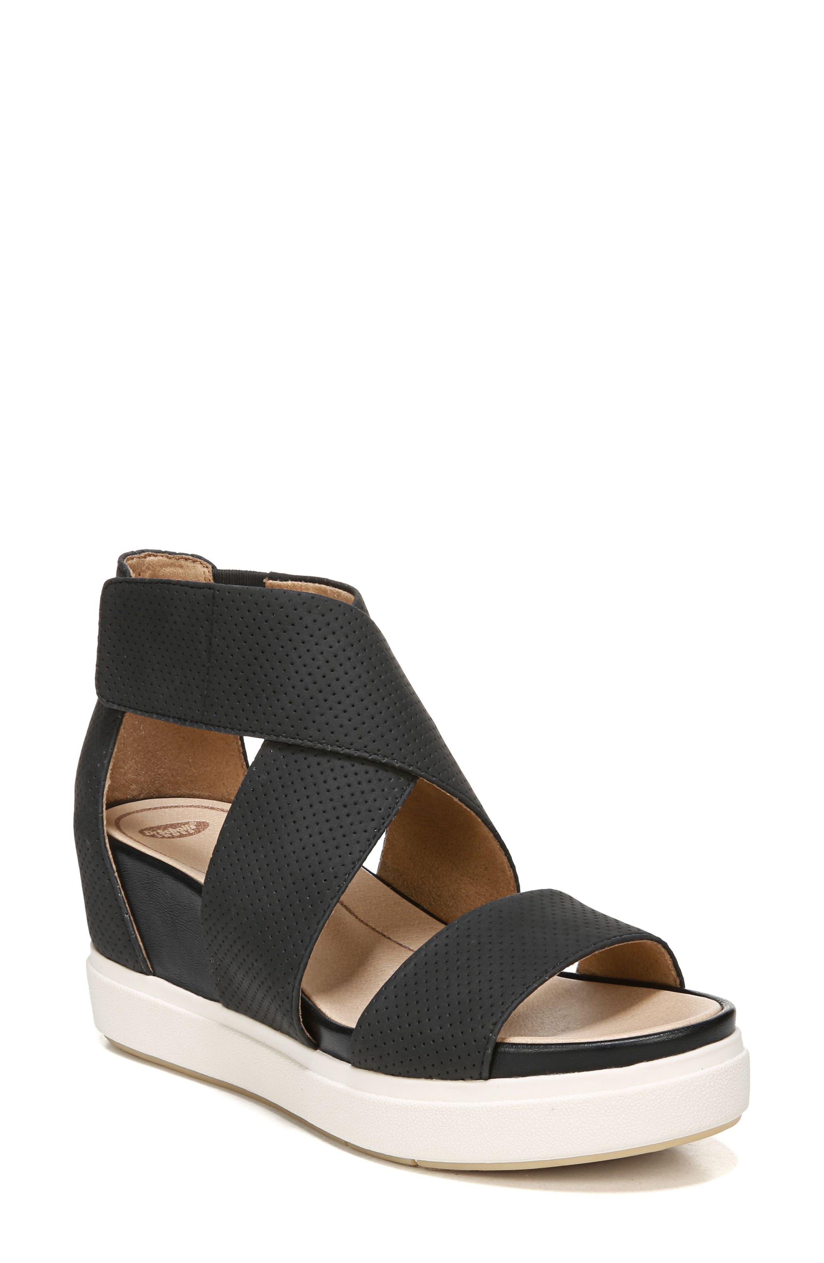 DR. SCHOLL'S Sheena Sport Sandal, Main, color, BLACK FAUX LEATHER