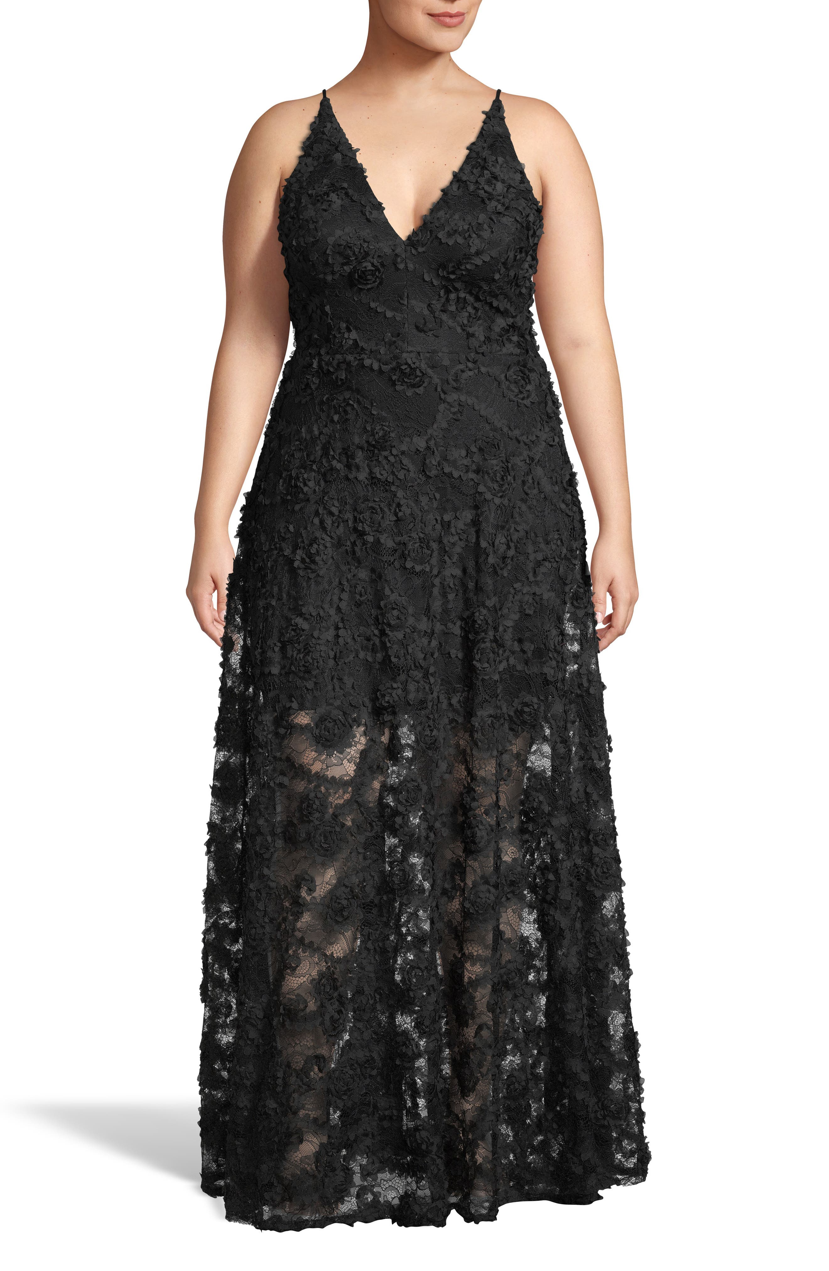 Plus Size Xscape 3D Lace V-Neck Evening Dress, Black
