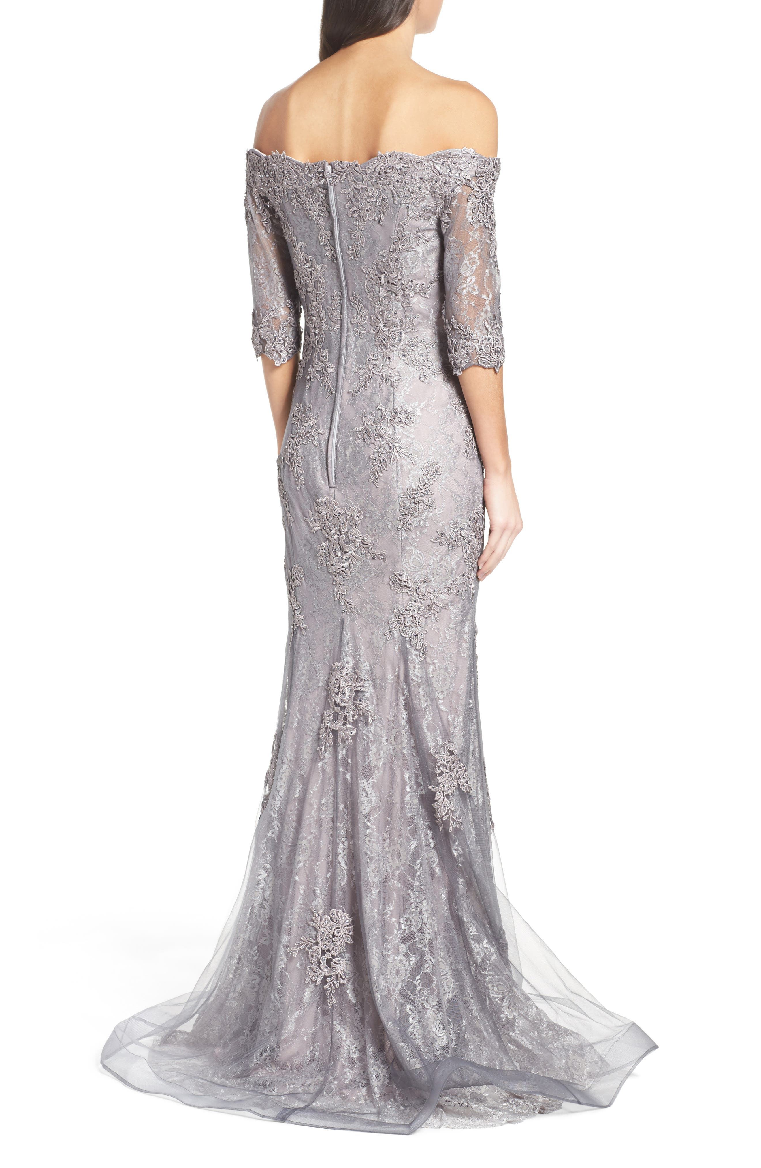 LA FEMME, Fit & Flare Gown with Train, Alternate thumbnail 2, color, PINK/ GRAY