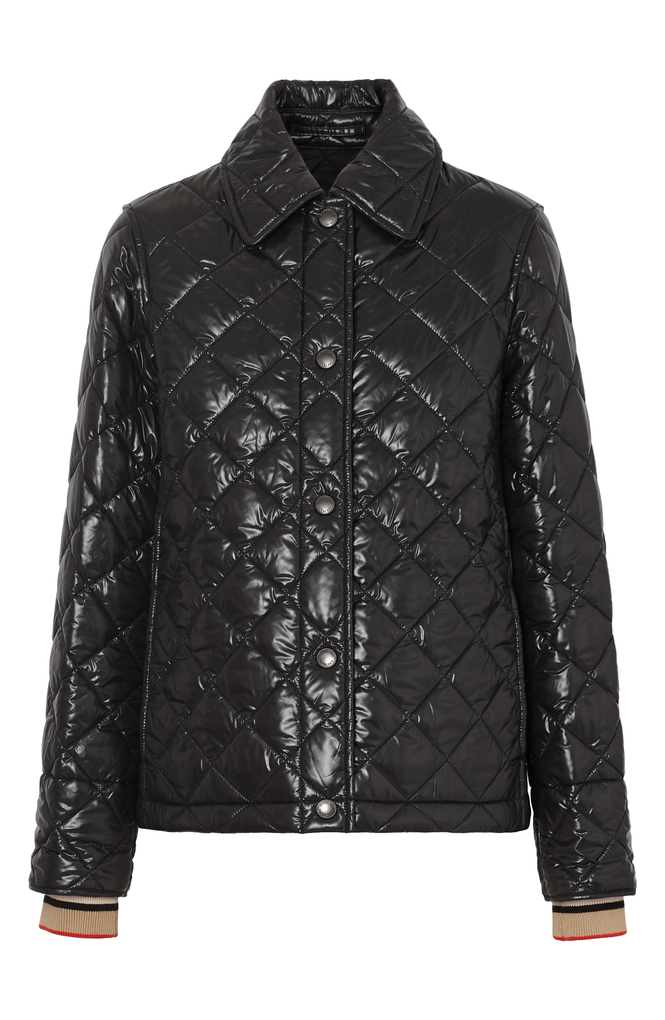 BURBERRY, Heathfield Frinton Knit Cuff Quilted Jacket, Alternate thumbnail 6, color, BLACK