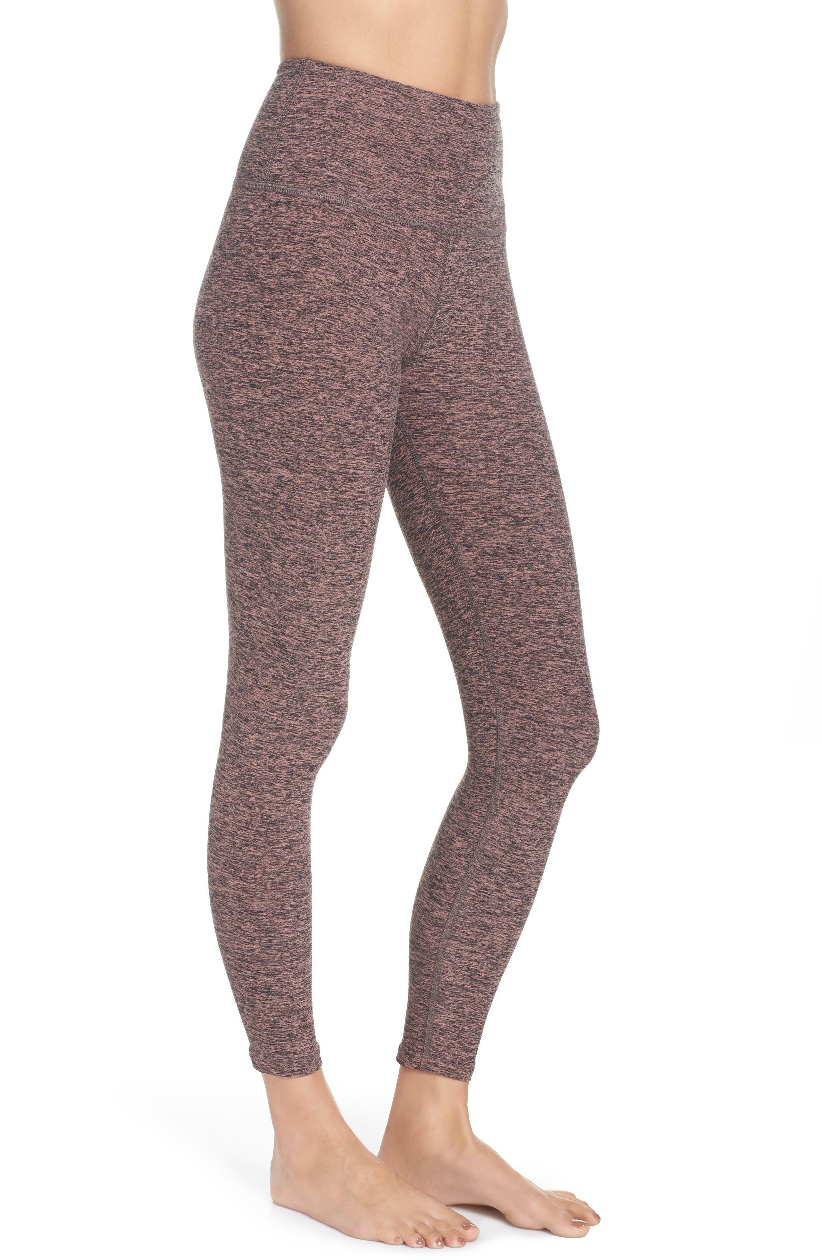 BEYOND YOGA, Midi High Waist Leggings, Alternate thumbnail 4, color, BLACK- PINK LEI