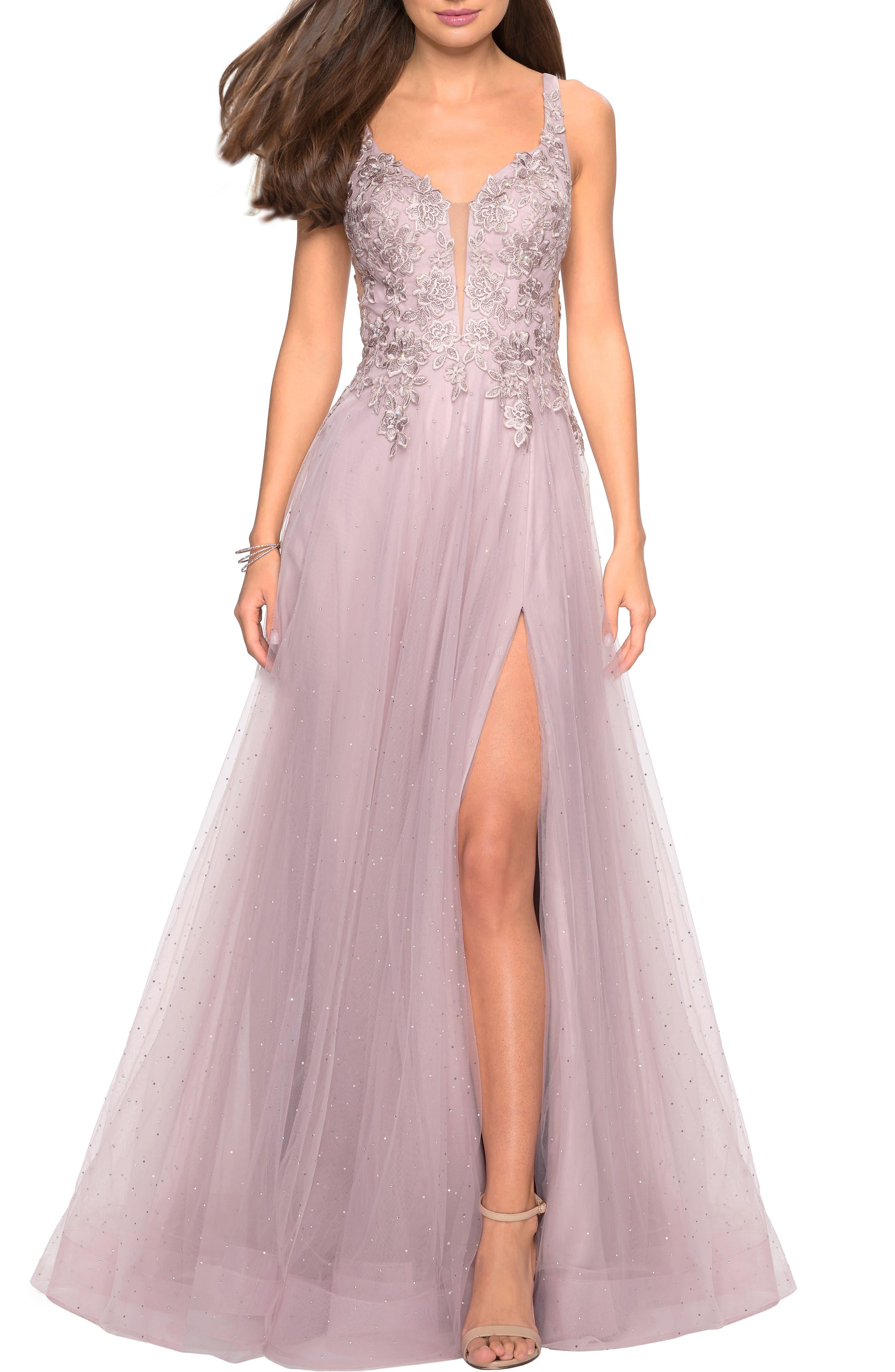 La Femme High Slit Tulle Evening Dress, Purple