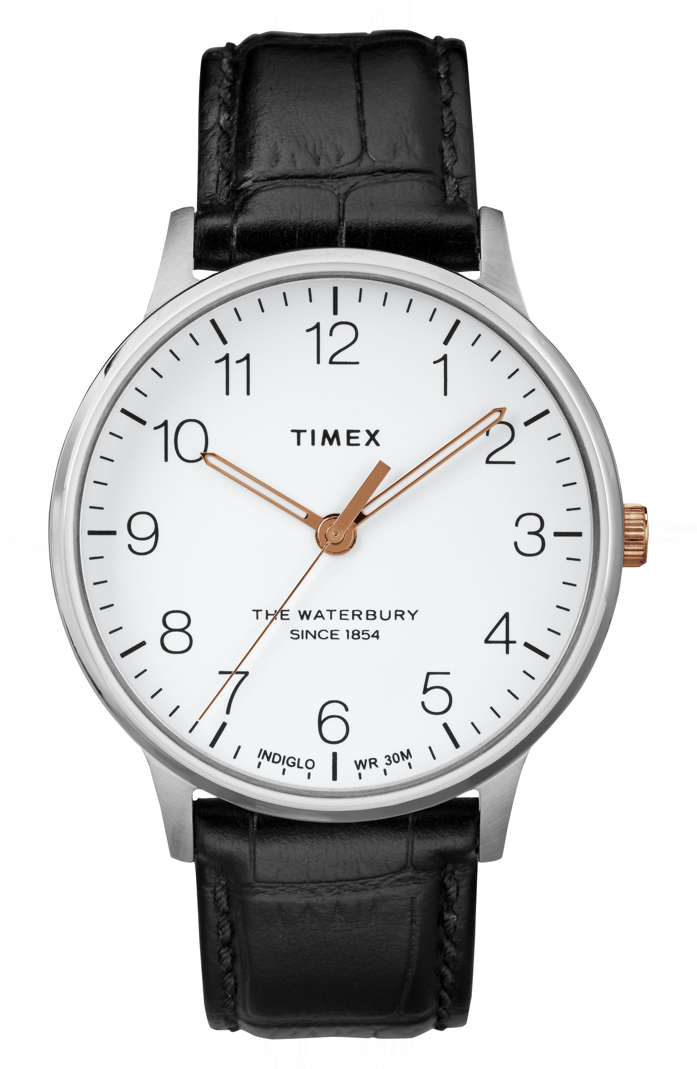 TIMEX<SUP>®</SUP>, Waterbury Leather Strap Watch, 40mm, Main thumbnail 1, color, BLACK/ WHITE/ SILVER