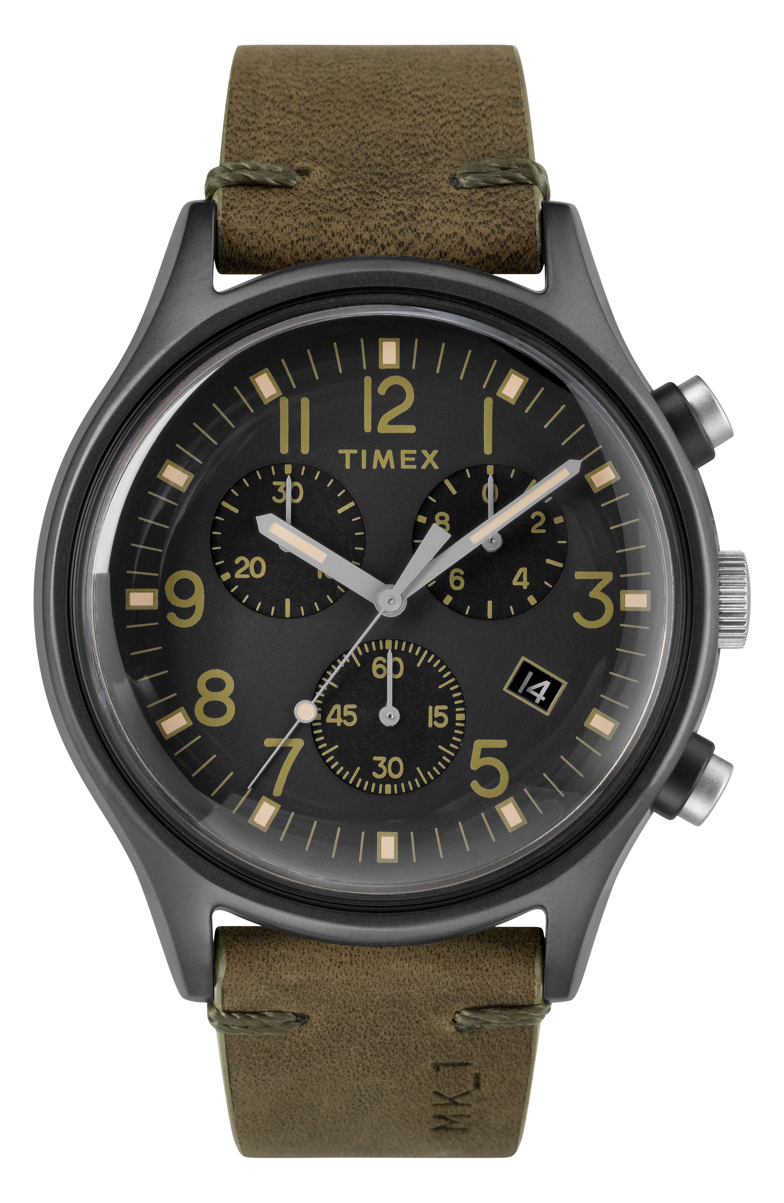 TIMEX<SUP>®</SUP> MK1 Chronograph Leather Strap Watch, 42mm, Main, color, BROWN/ BLACK/ GREY