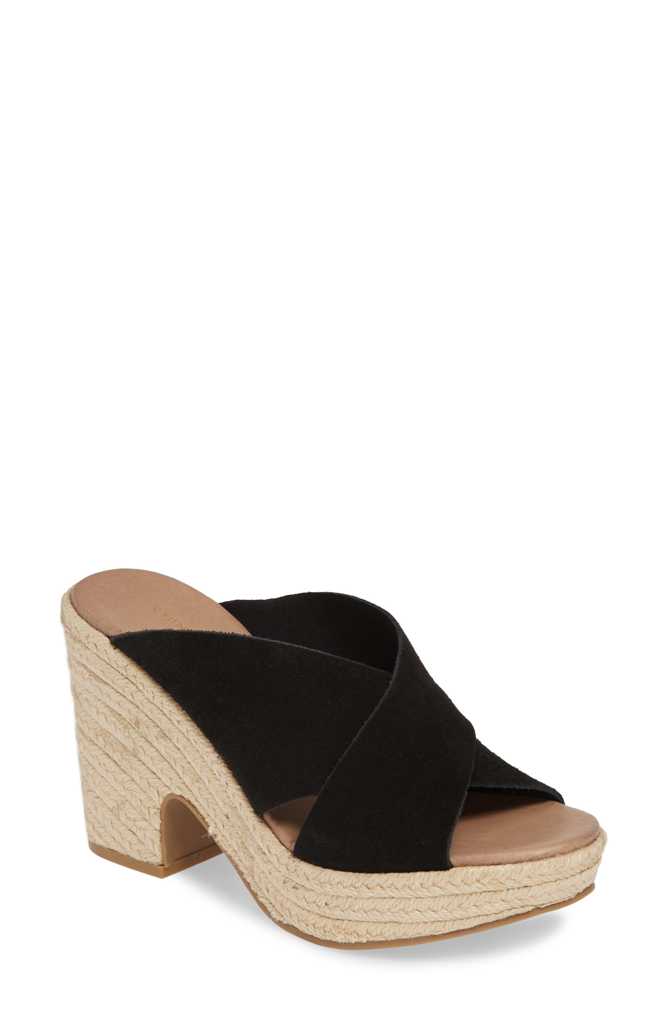 CHINESE LAUNDRY, Quay Platform Sandal, Main thumbnail 1, color, BLACK SUEDE