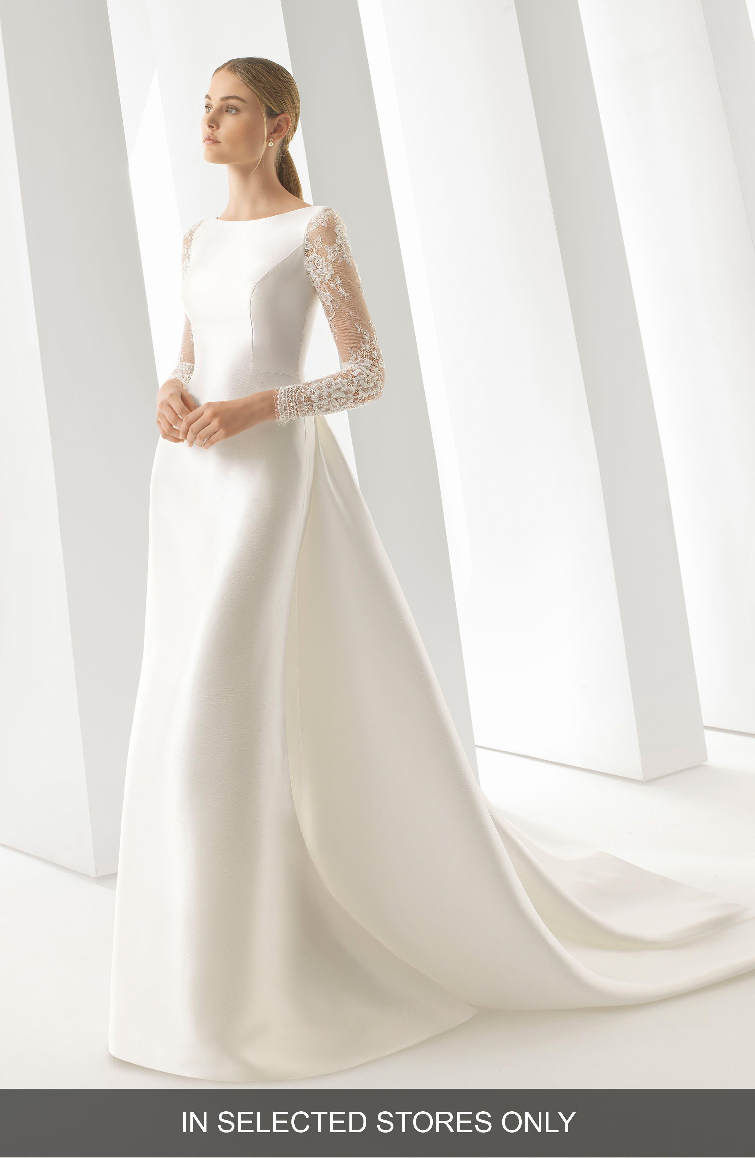 ROSA CLARÁ, Doreen Column Gown with Detachable Train, Main thumbnail 1, color, NATURAL