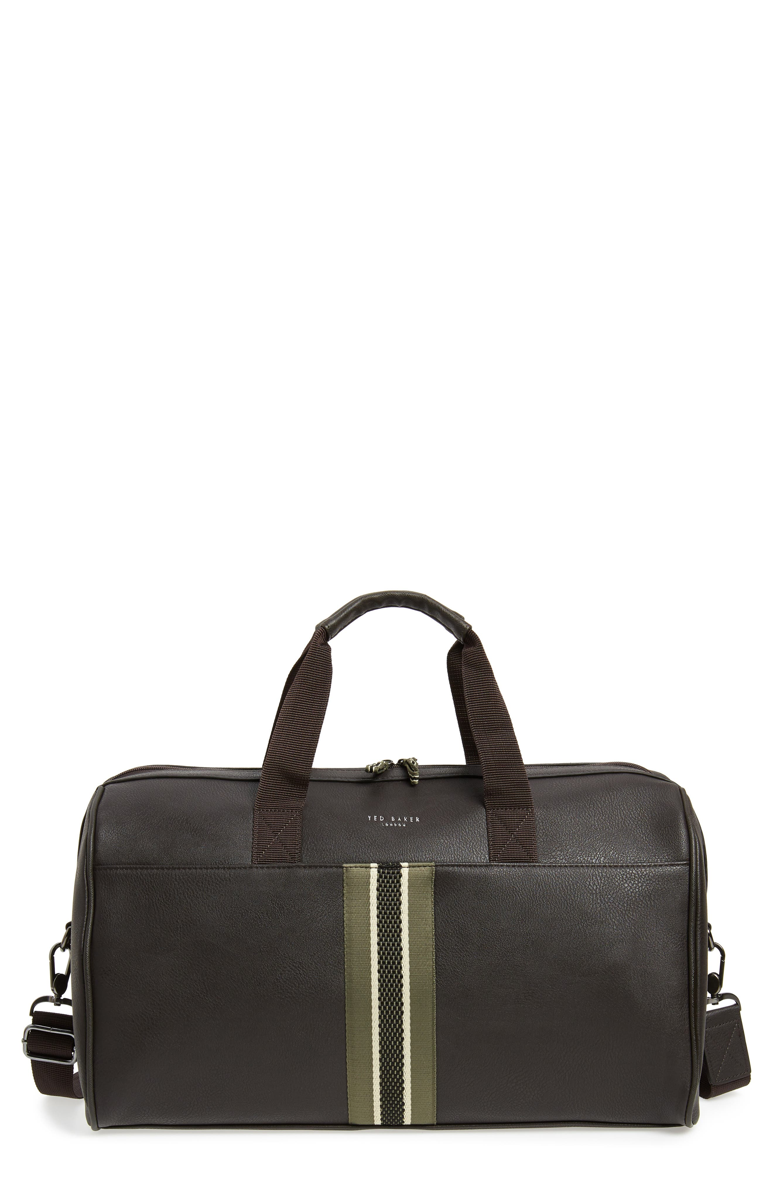 TED BAKER LONDON Webbing Duffle Bag, Main, color, CHOCOLATE