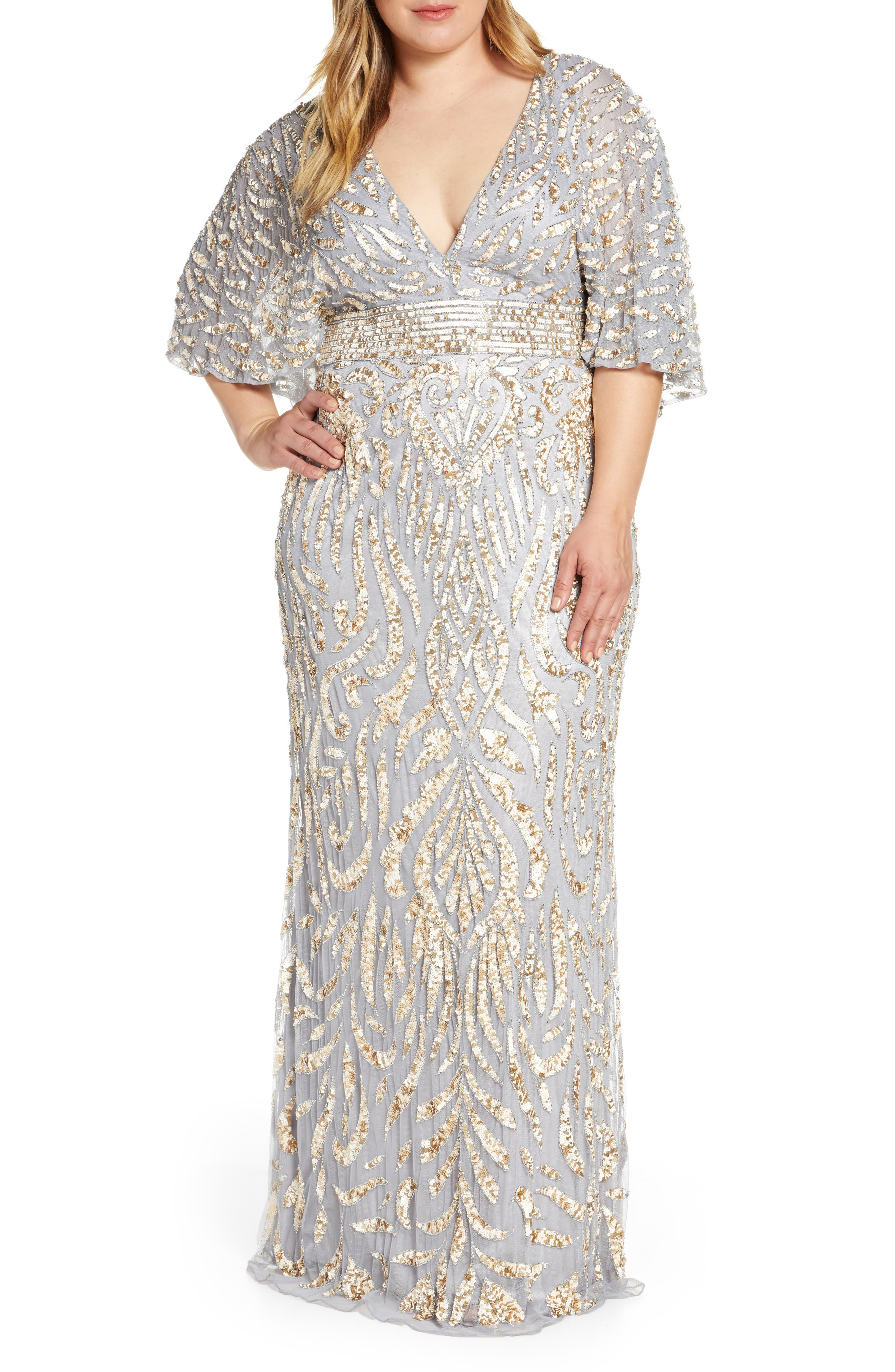 Plus Size MAC Duggal Sequin Cape Sleeve Evening Gown, Yellow