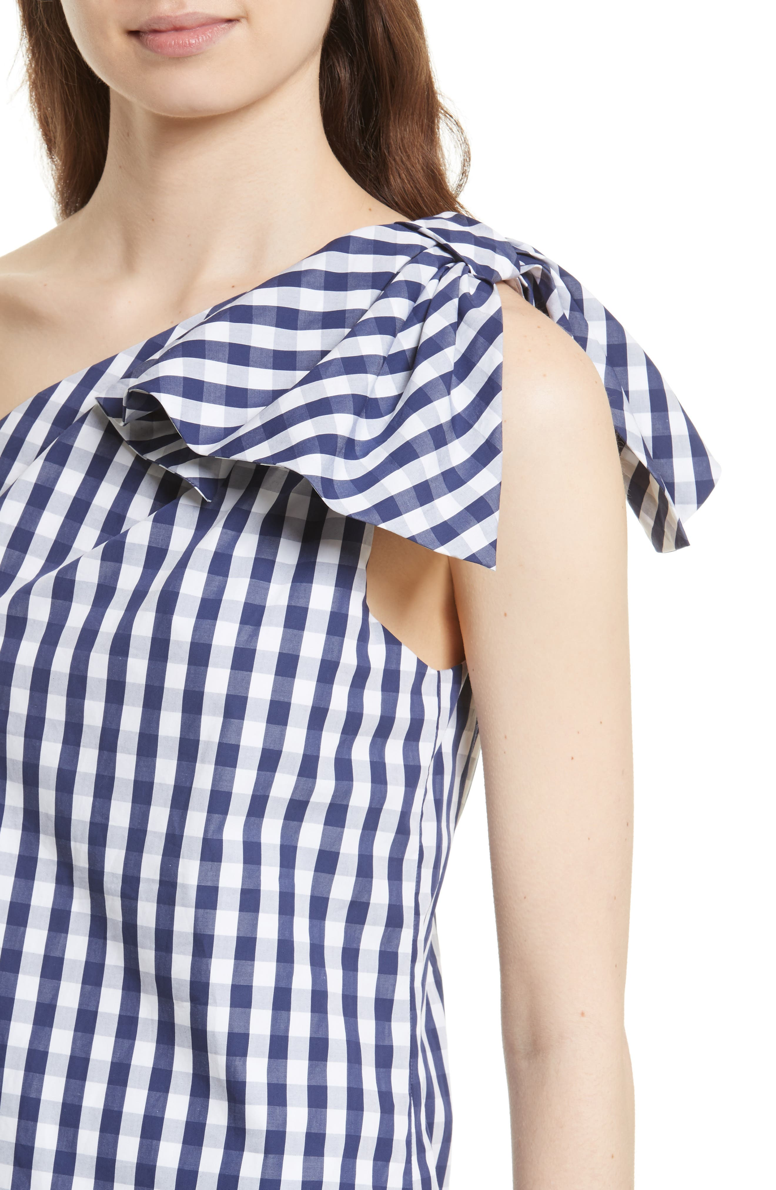 MILLY, Cindy One Shoulder Gingham Top, Alternate thumbnail 4, color, 410