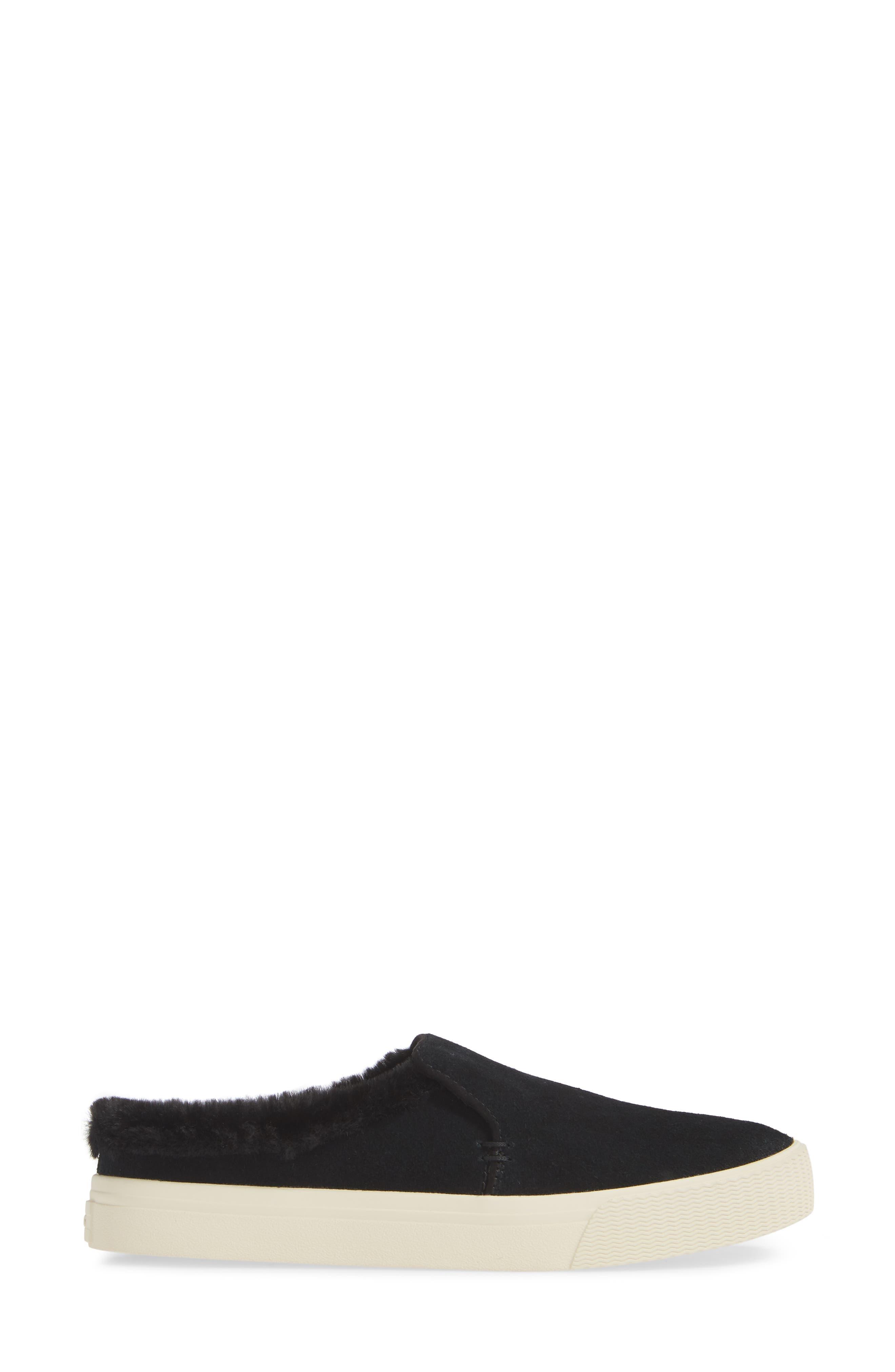 TOMS, Sunrise Faux Fur Lined Slip-On Sneaker, Alternate thumbnail 3, color, BLACK SUEDE