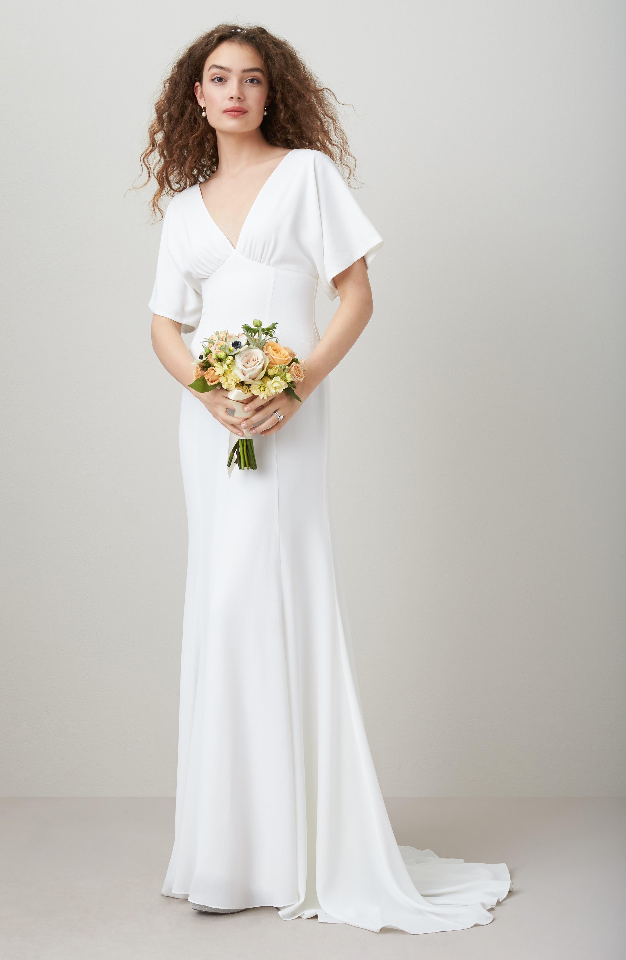 JOANNA AUGUST, Pattie Empire Waist Crepe Gown, Alternate thumbnail 5, color, WHITE