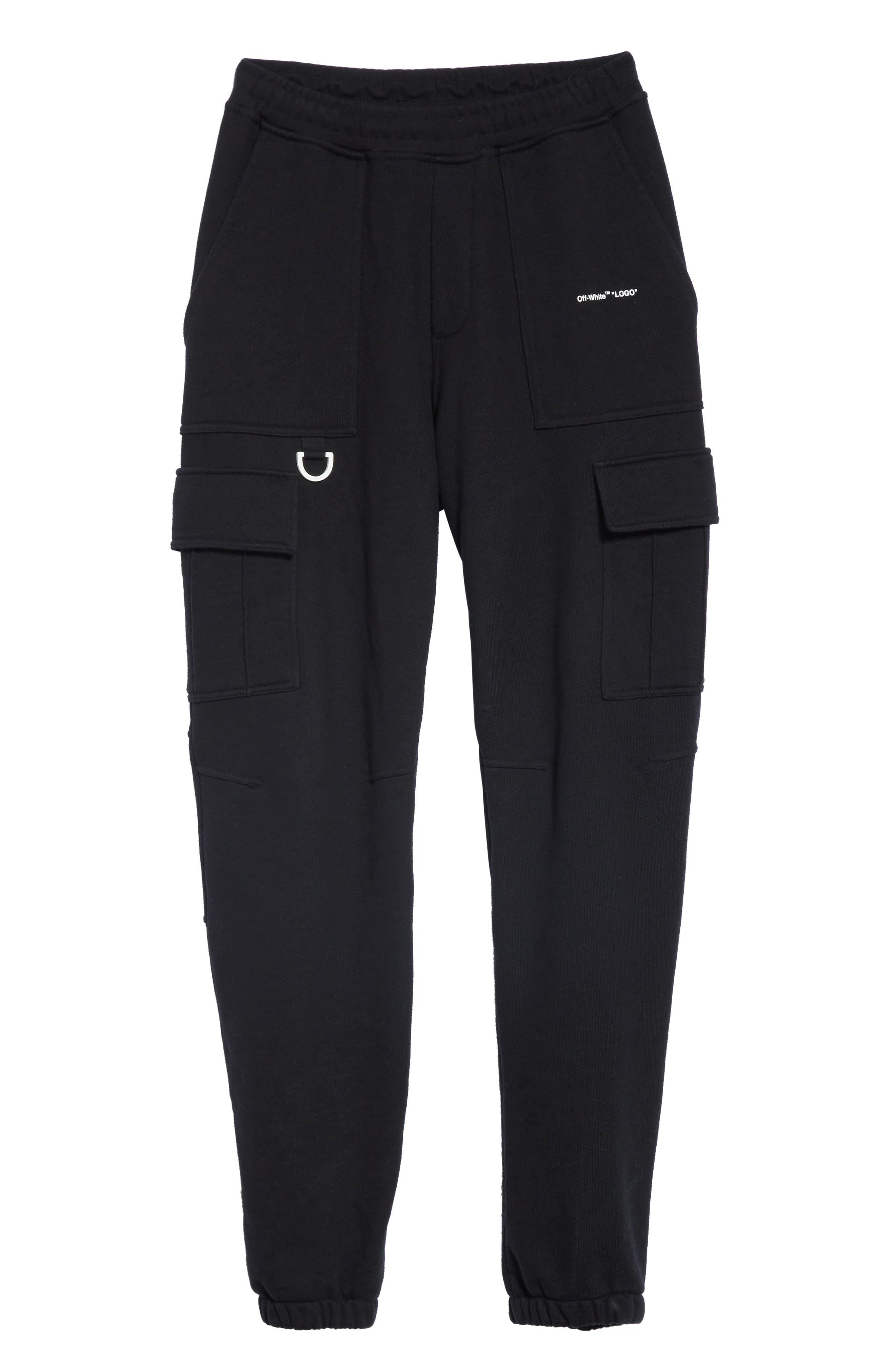 OFF-WHITE, Cargo Jogger Pants, Alternate thumbnail 6, color, BLACK