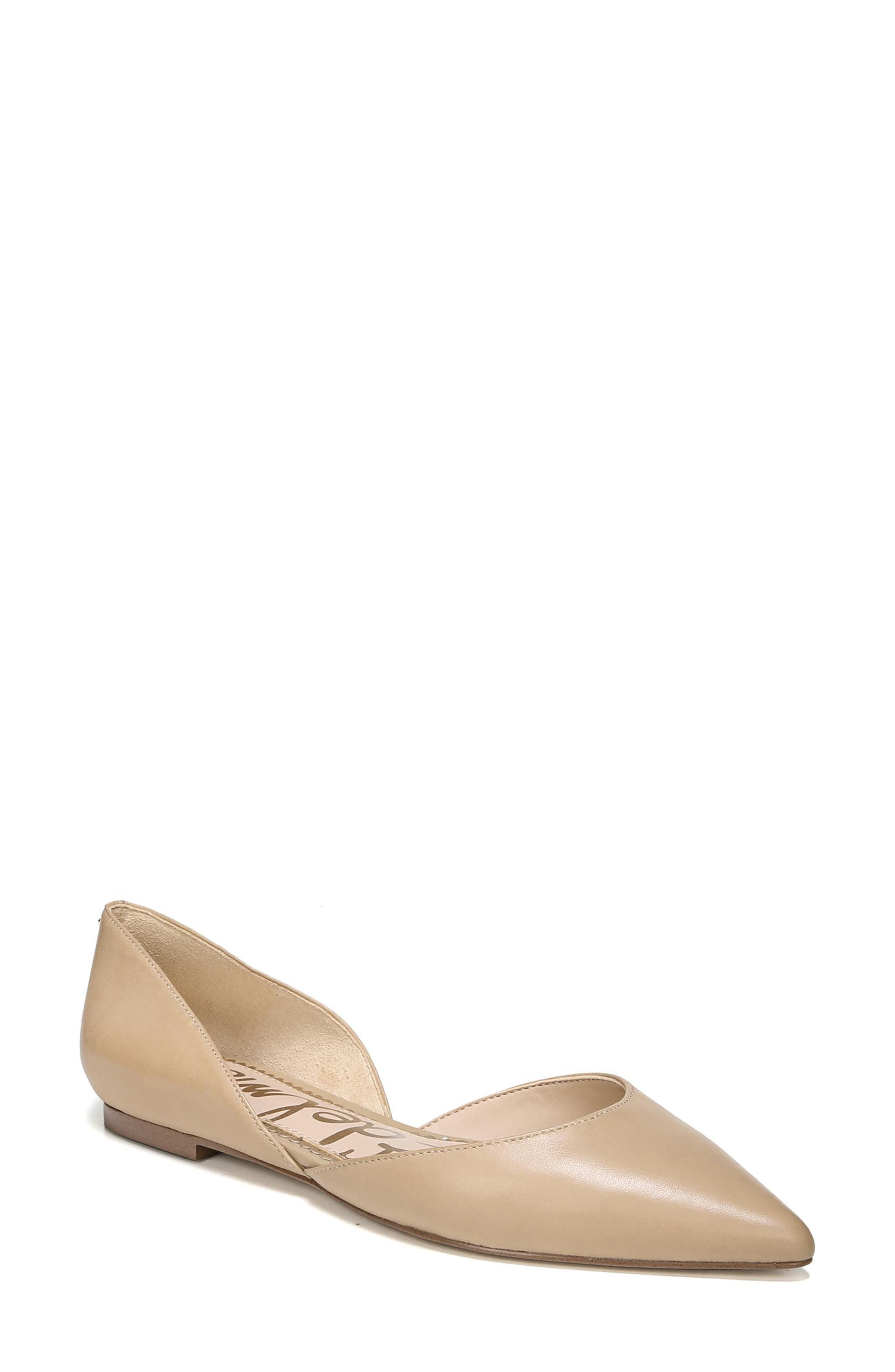 SAM EDELMAN Rodney Pointy Toe d'Orsay Flat, Main, color, CLASSIC NUDE LEATHER